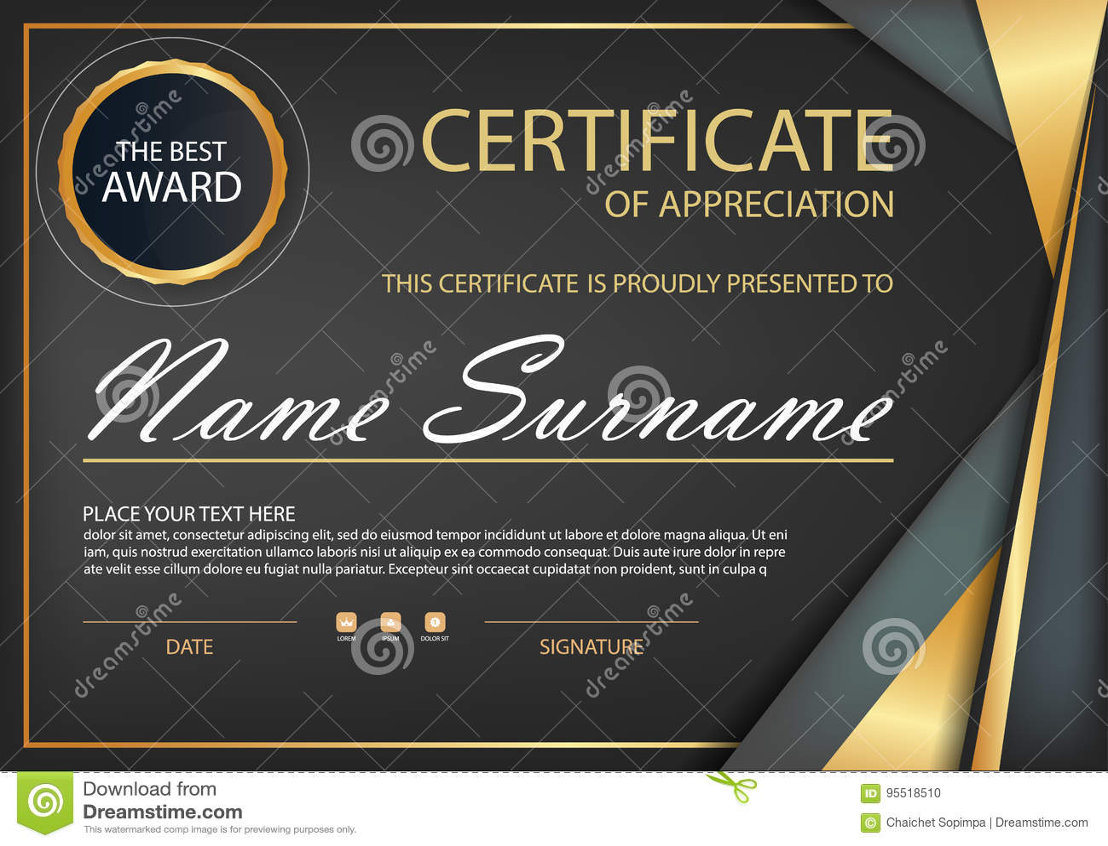Black Gold Elegance Horizontal Certificate With Vector Illustration ...