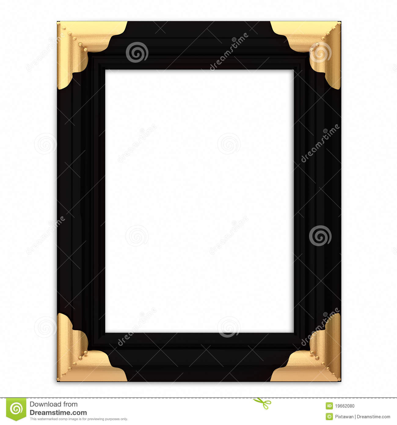 Black And Gold Framed Picture Frame W/ Path Stock ...
