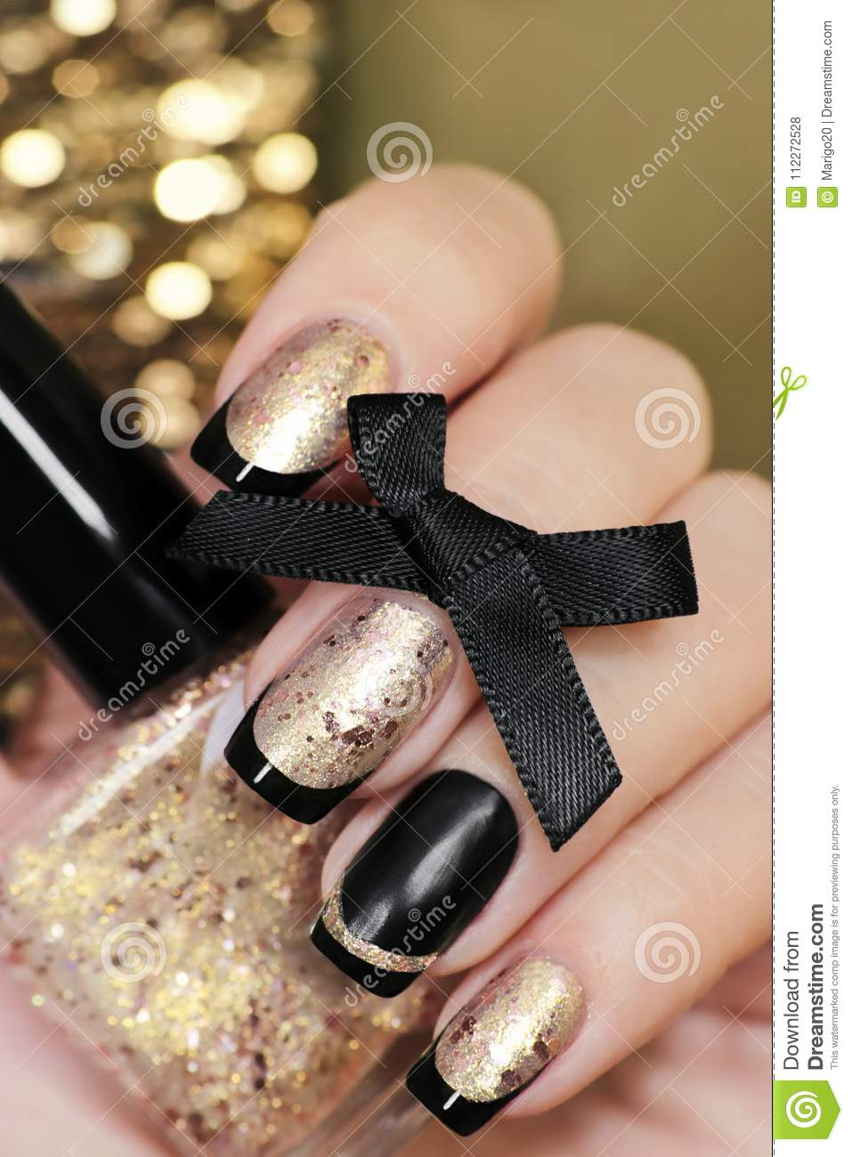 Black And Gold French Manicure Stock Photo - Image of false, closeup ...