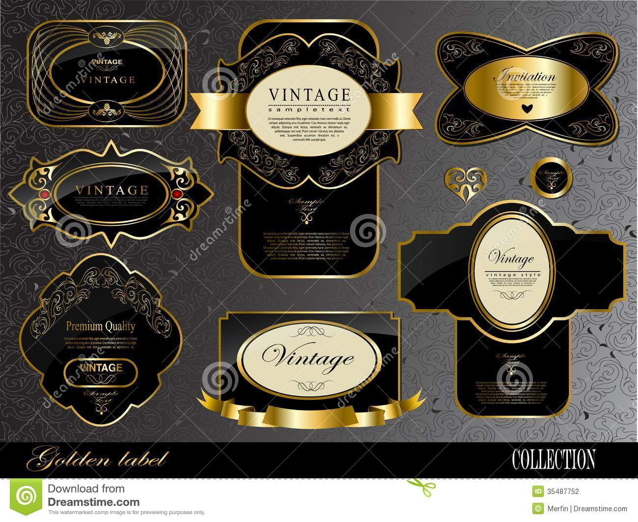 black gold labels stock vector  image of fleur  badge