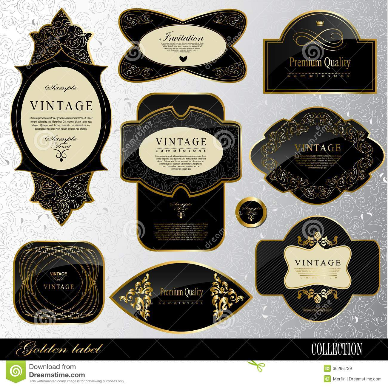 Black Gold Labels Royalty Free Stock Images Image 36266739
