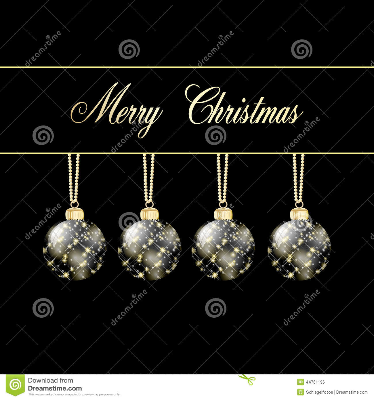 Black Gold Merry Christmas Card Stock Illustration - Image: 44761196