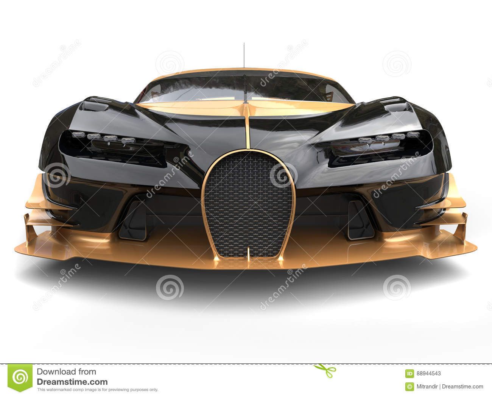 Black And Gold Modern Supercar Extreme Closeup Stock Illustration Illustration Of Powerful Black 88944543