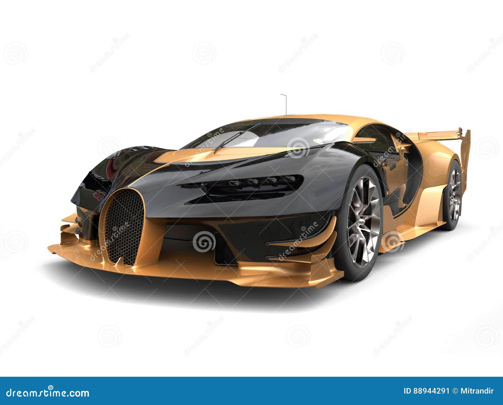 Black And Gold Modern Supercar Studio Shot Stock Illustration Illustration Of Design Sportscar 88944291