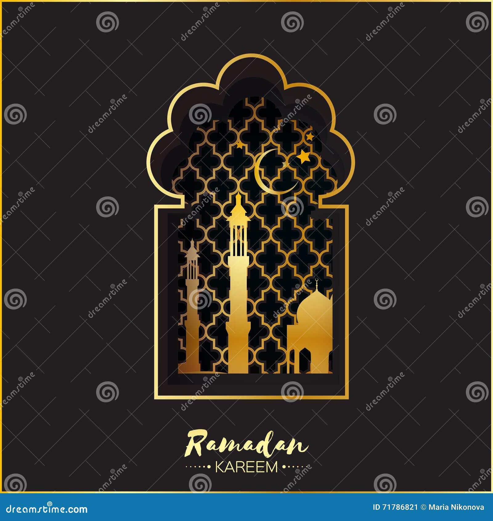 Black gold origami mosque window for ramadan kareem greeting card download black gold origami mosque window for ramadan kareem greeting card stock vector illustration m4hsunfo
