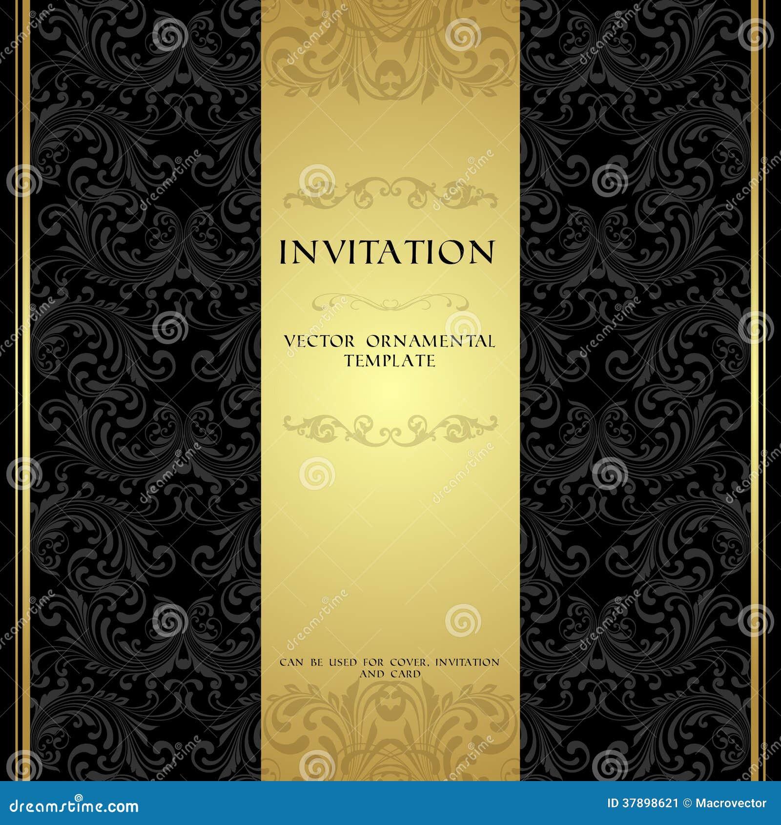 Black And Gold Ornamental Invitation Card Image Image – Black Invitation Cards
