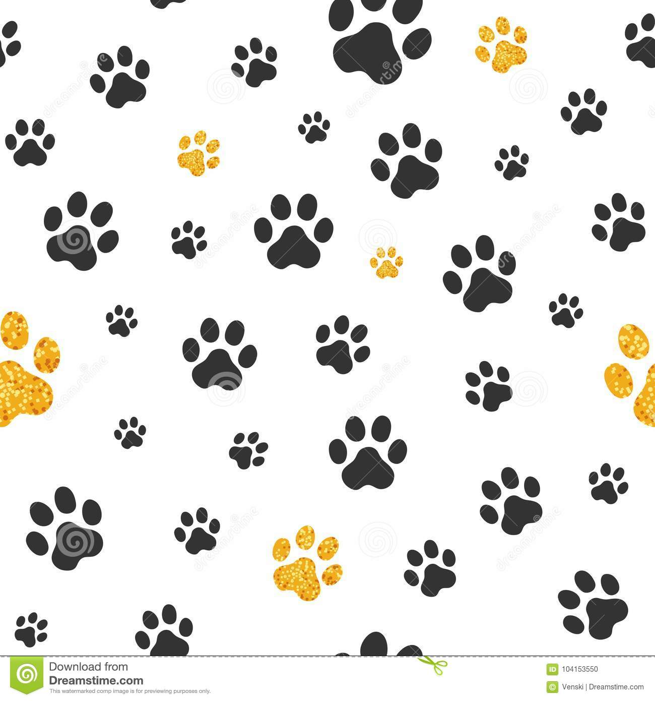 0b47fc8b6d31 Black and gold glitter pawprints in a white seamless tiling background.  More similar stock illustrations. Dog Gold paw prints. Seamless pattern of  animal ...
