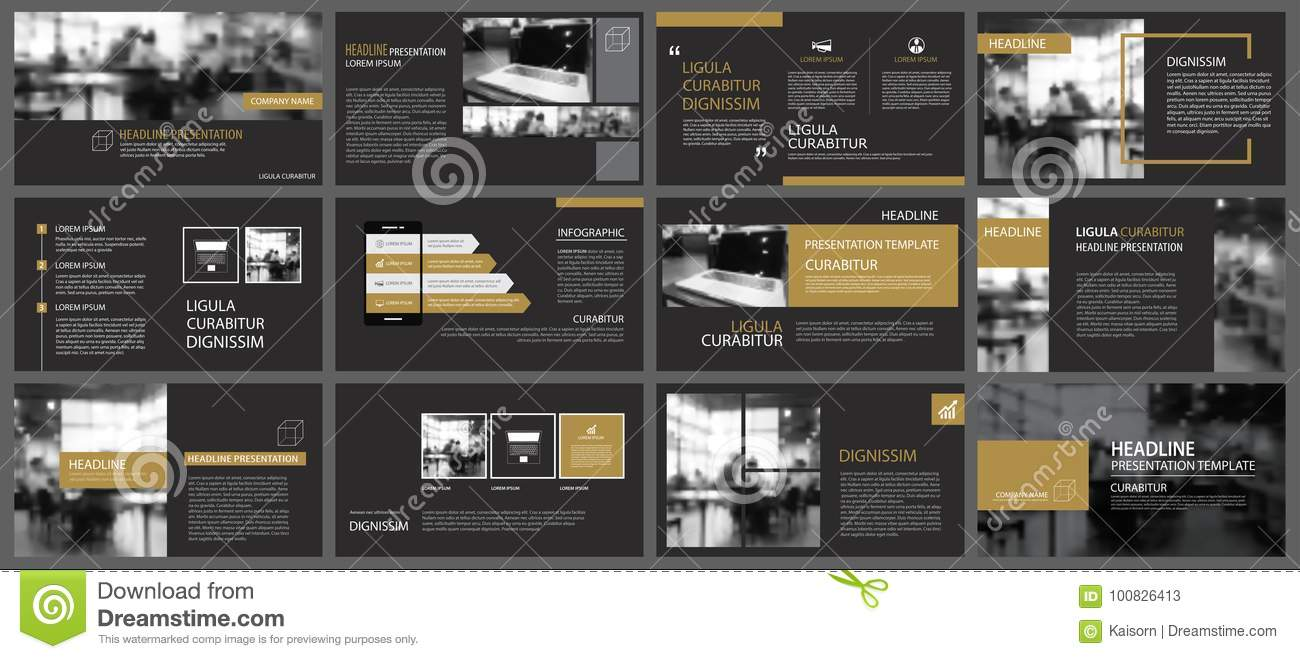 black gold presentation templates and infographics
