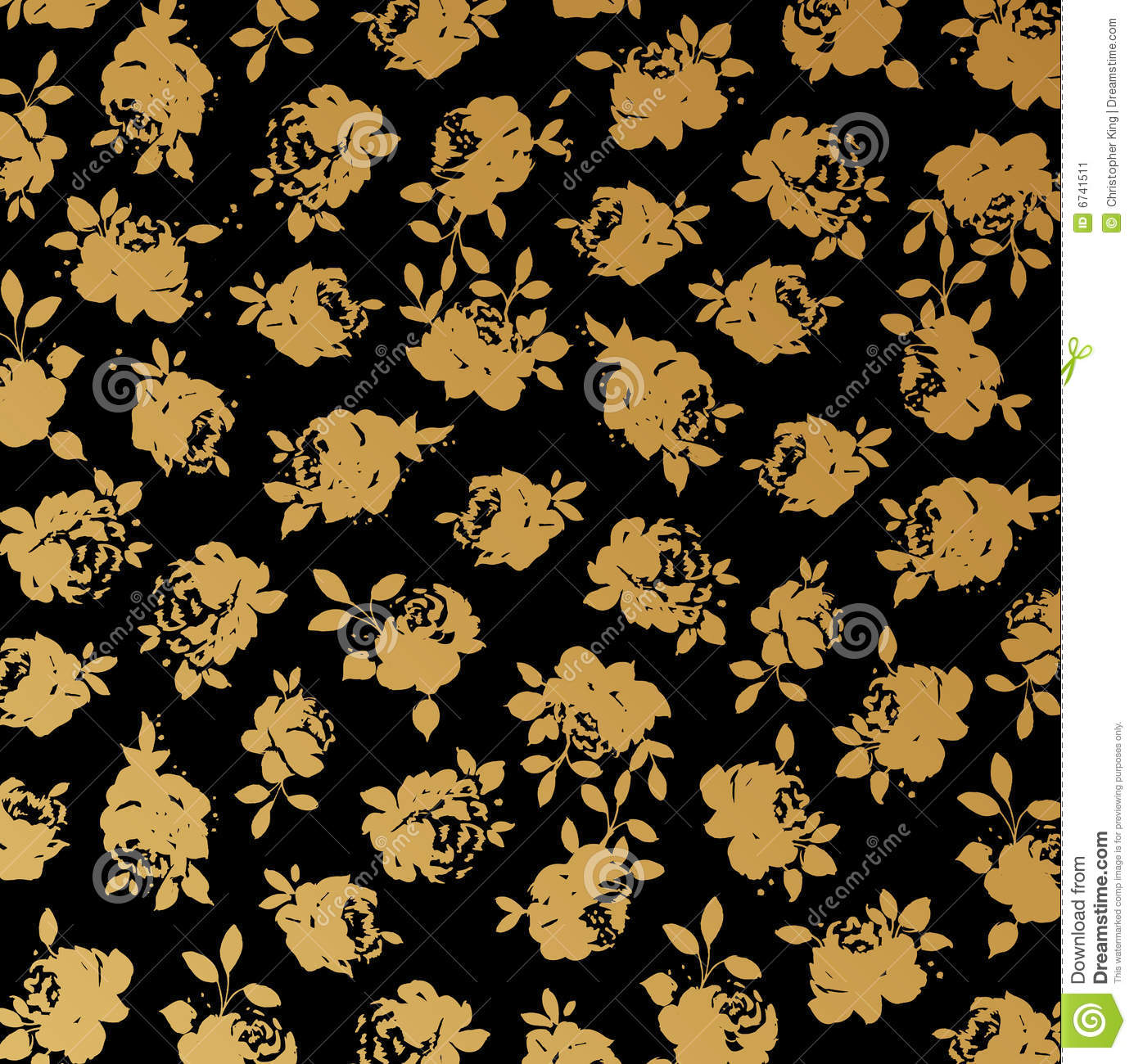 Black And Gold Rose Wallpaper Background Vector Illustration 6741511