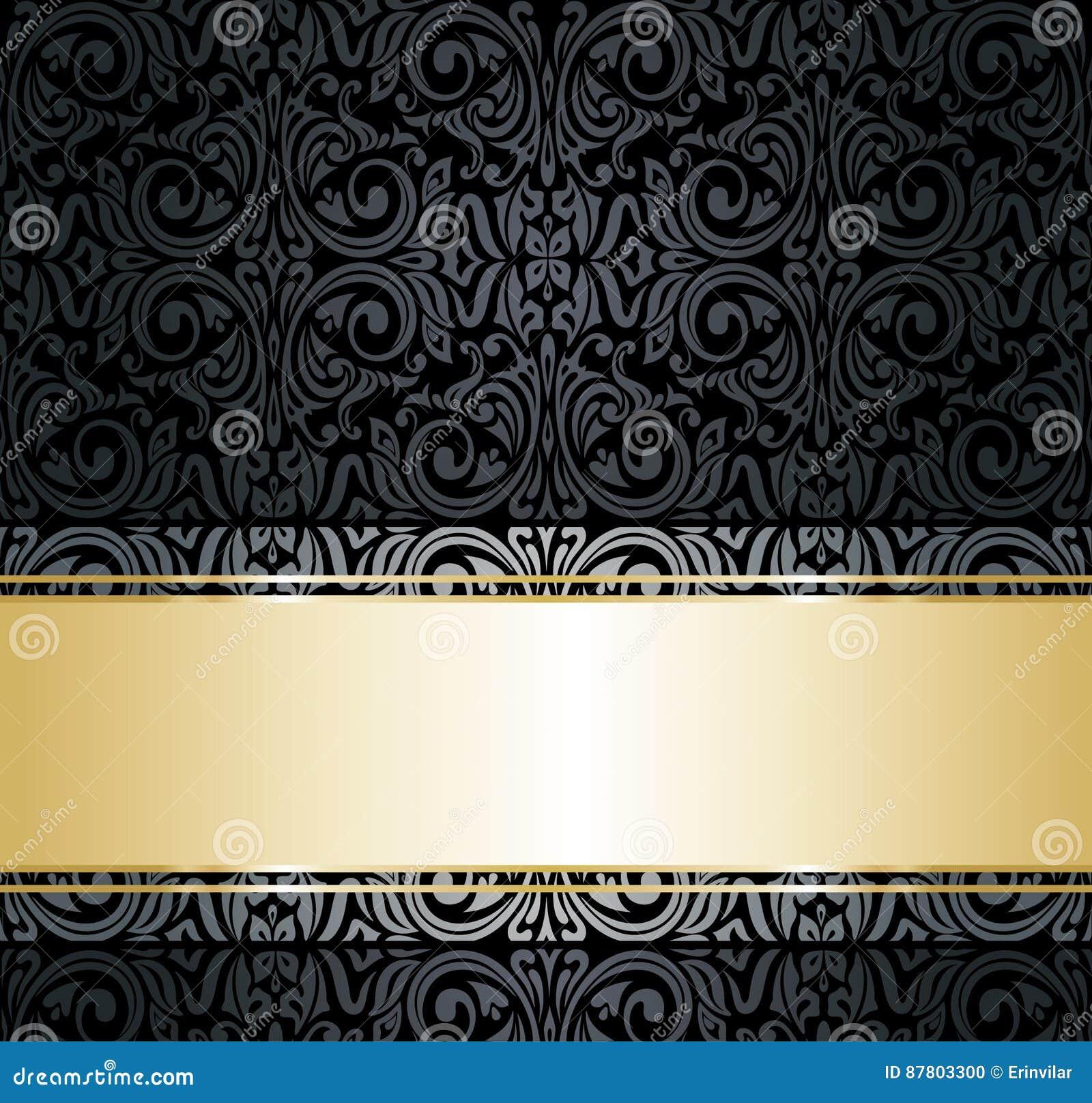 Black Gold Vintage Decorative Wallpaper Design