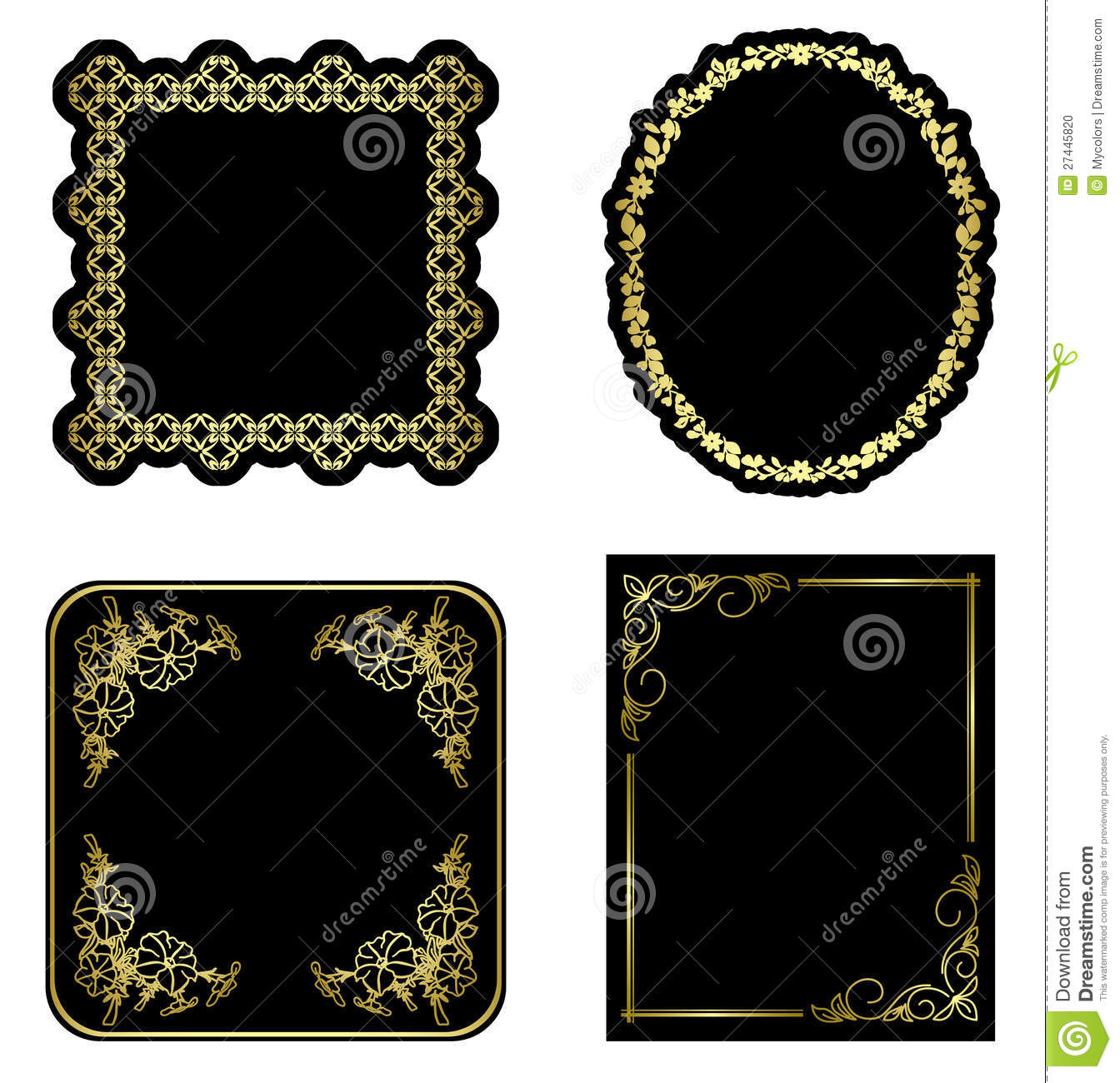 Black And Gold Vintage Frames Set Vector Stock Vector