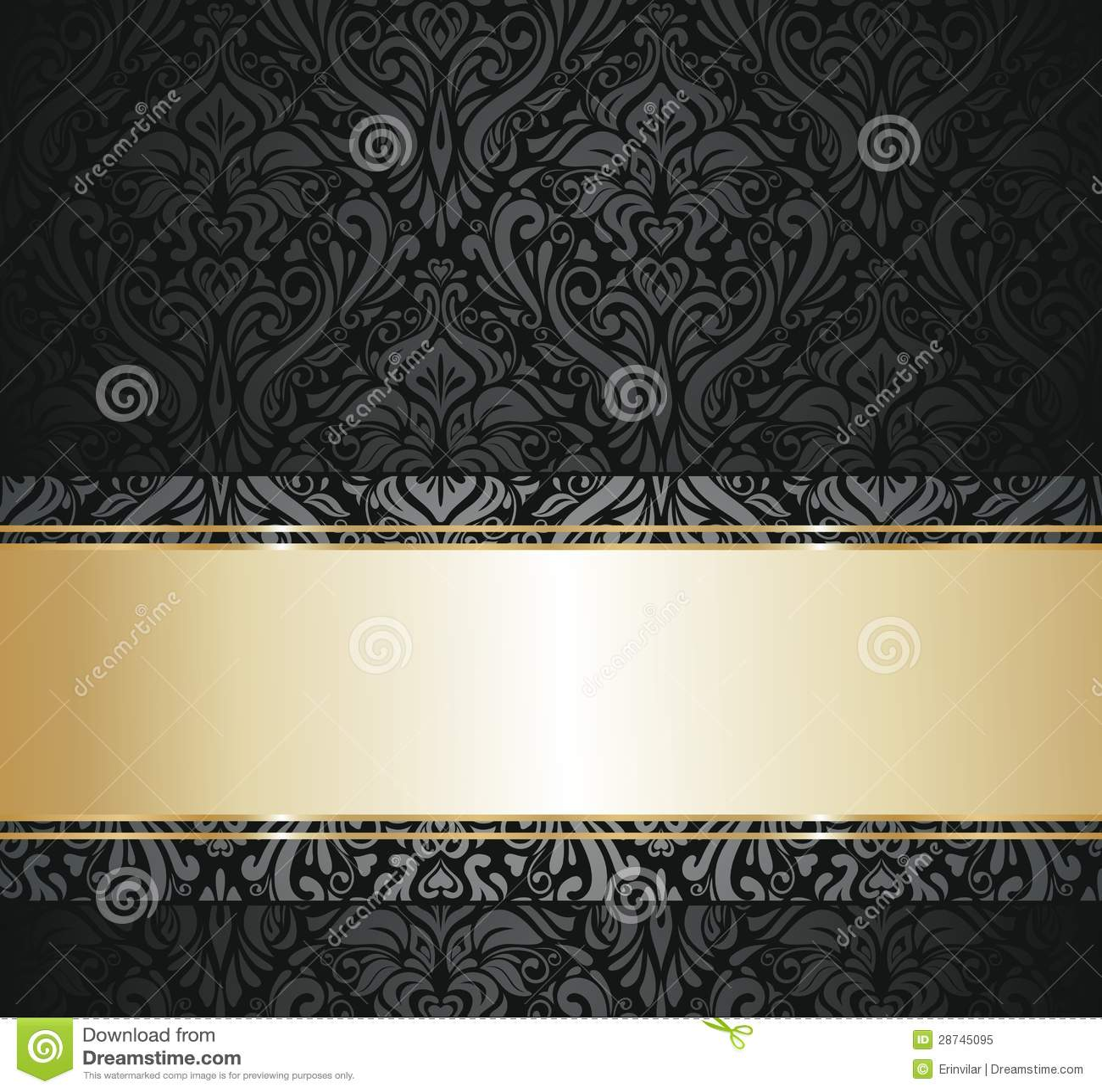 Black And Gold Vintage Wallpaper Stock Vector Illustration Of