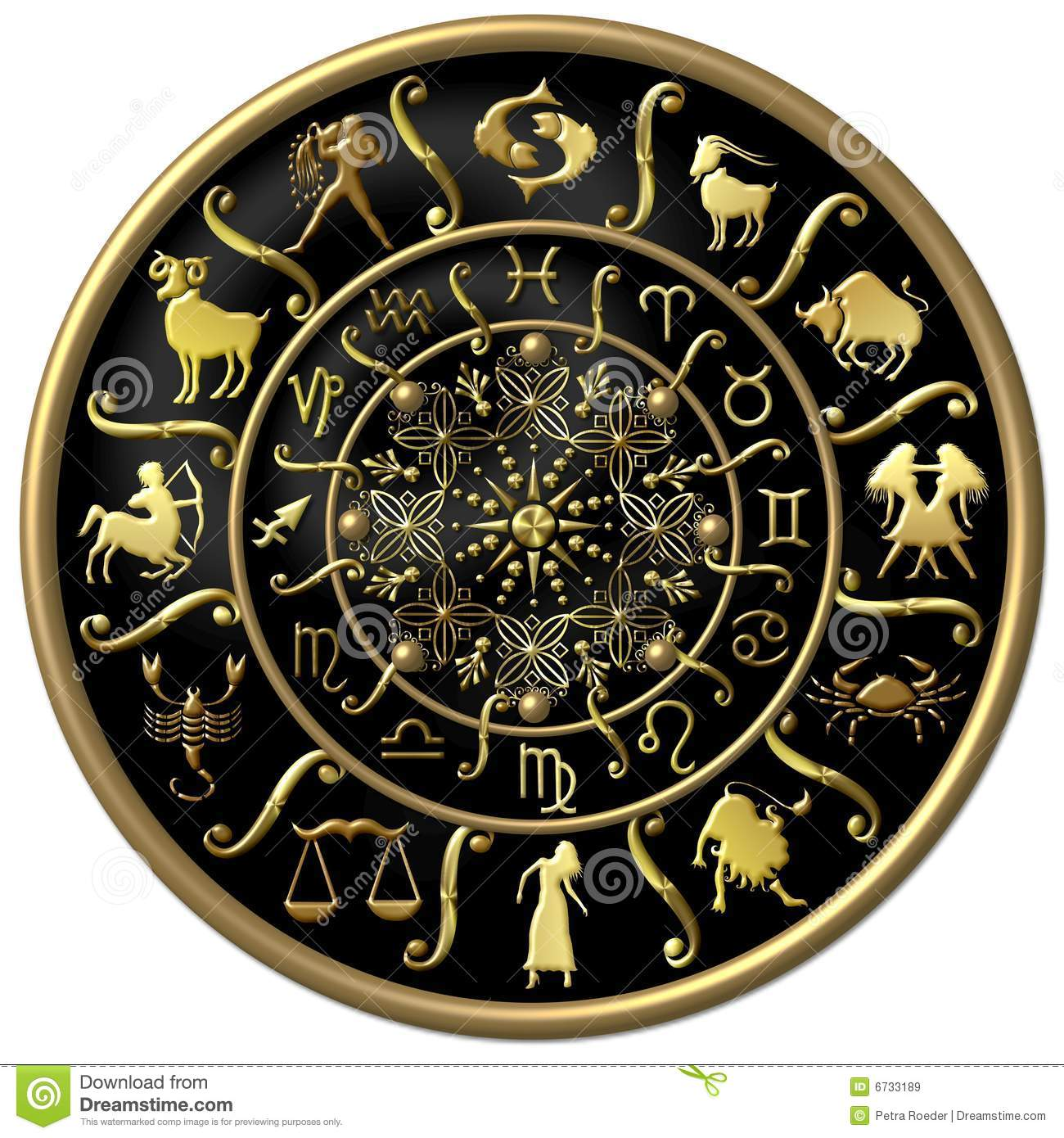 Black And Gold Zodiac Disc Royalty Free Stock Images - Image: 6733189