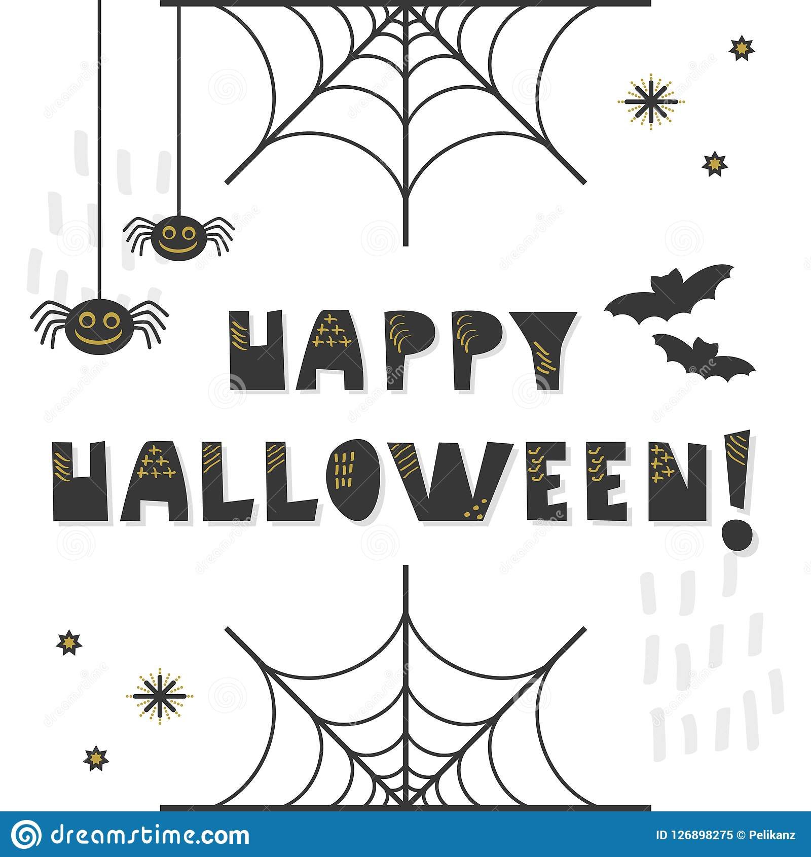Black and golden abstract cute Happy Halloween message greeting card
