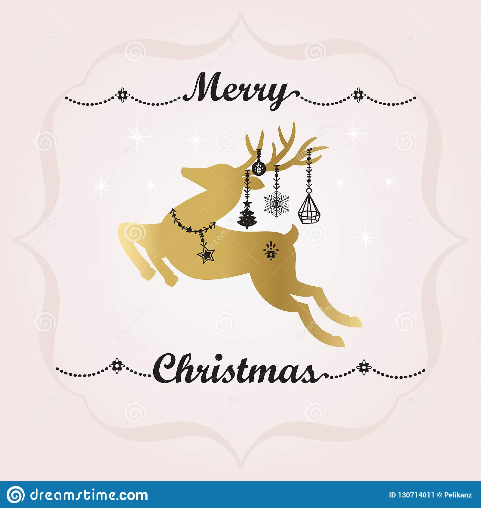 Black and golden Merry Christmas banner decoration and cute jumping reindeer