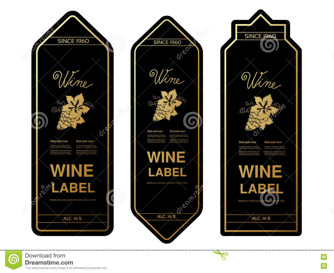 Black Golden Wine Labels With Grapes On White Background ...