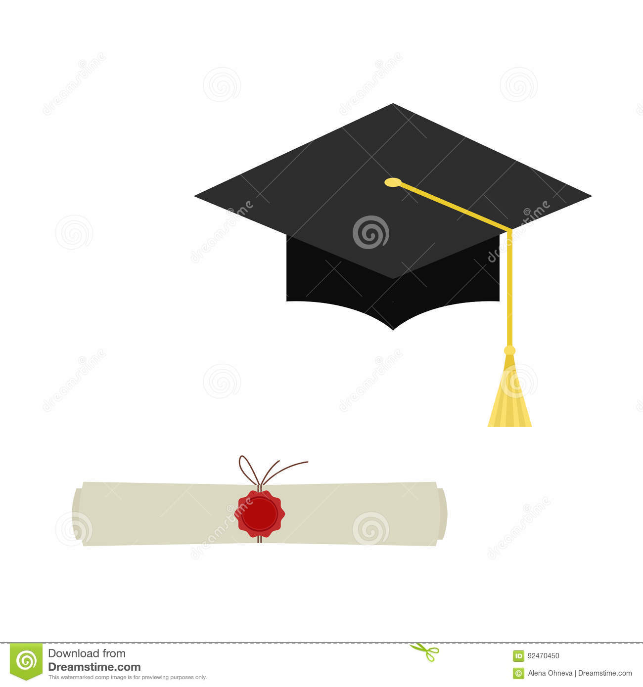 4b2c8dfff0a Black graduation cap and diploma scroll web icon isolated on white  background. Mortarboard flat design vector illustration.
