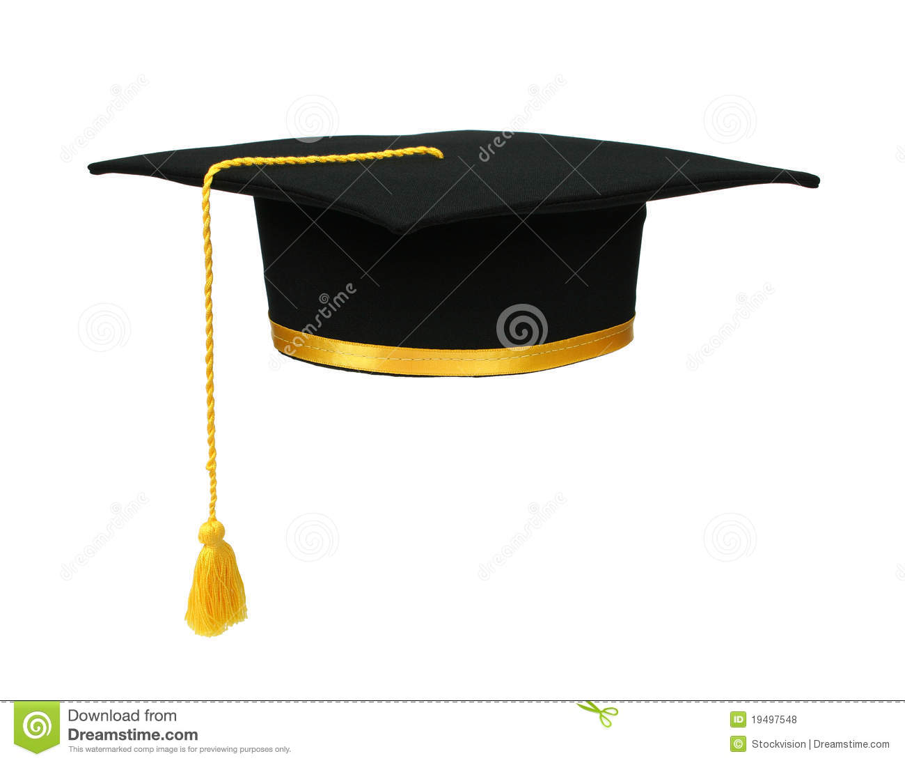 Black Graduation Cap With Gold Tassel Isolated Royalty Free Stock ...