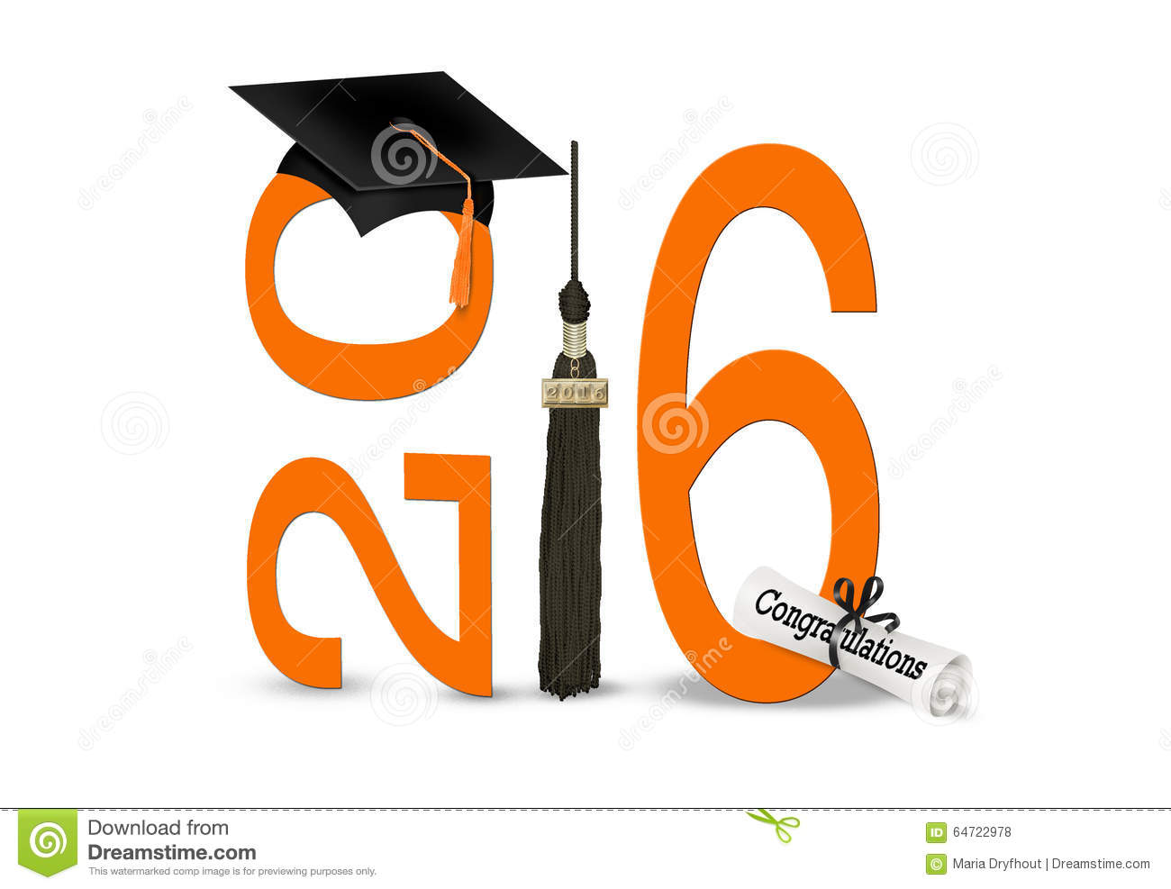 Black graduation cap and tassel with diploma and orange 2016 on white.