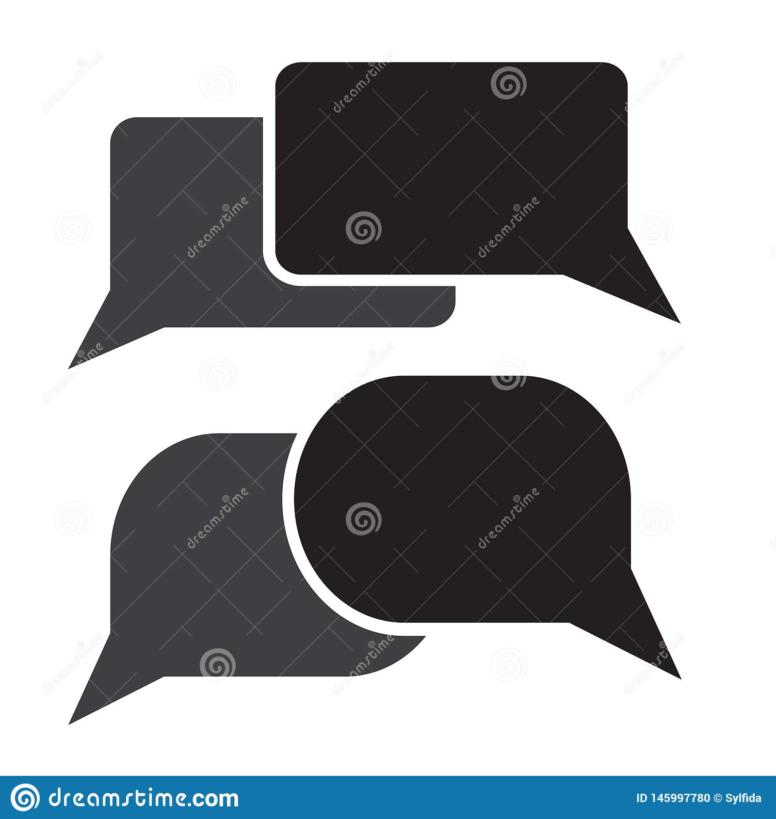 Black and gray chat icon. Set dialog clouds. Vector