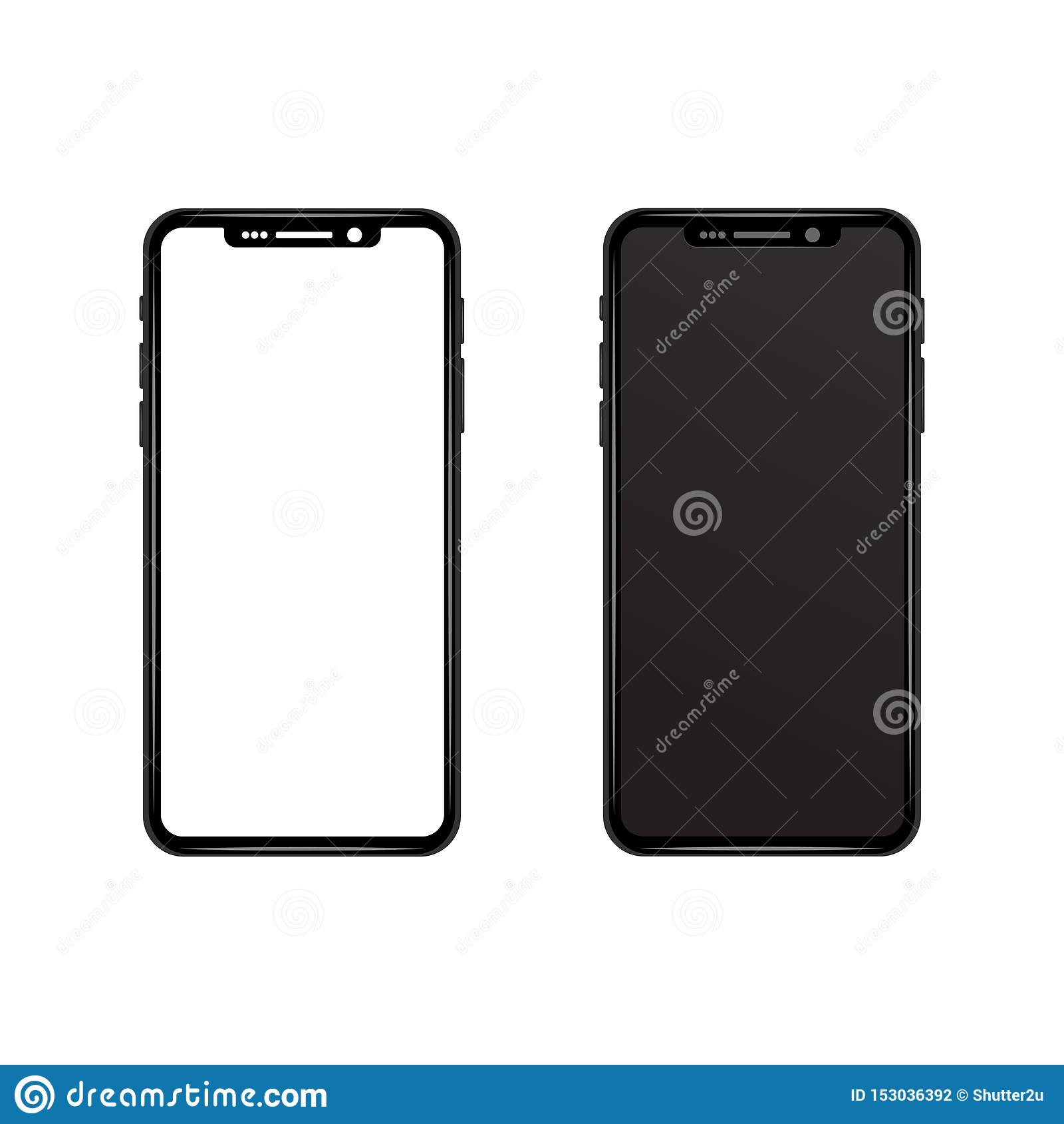 New Smartphone Wallpaper: Black Gray Slim Phone With White And Black Blank Screen