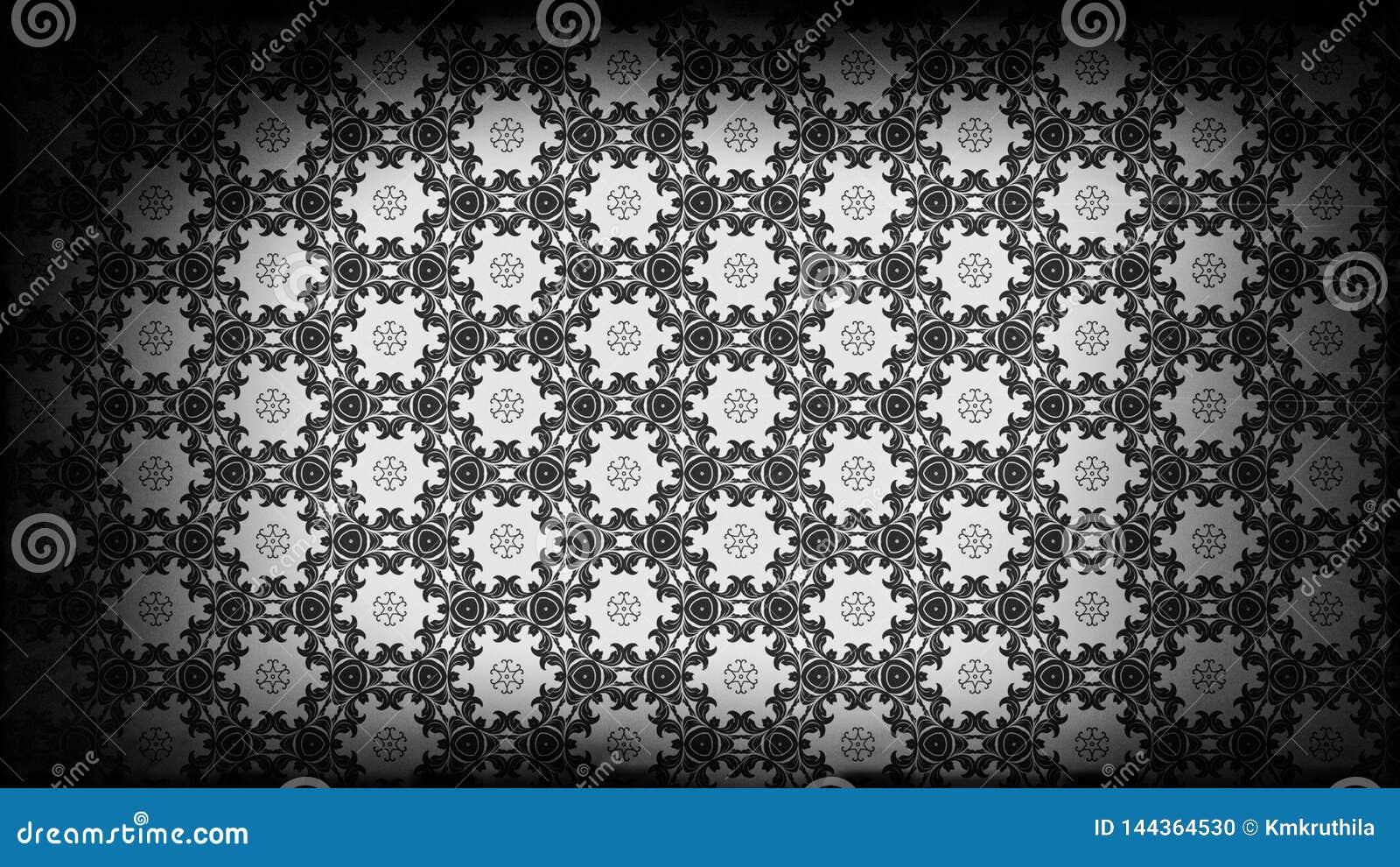 Black And Gray Vintage Decorative Floral Pattern Wallpaper Design