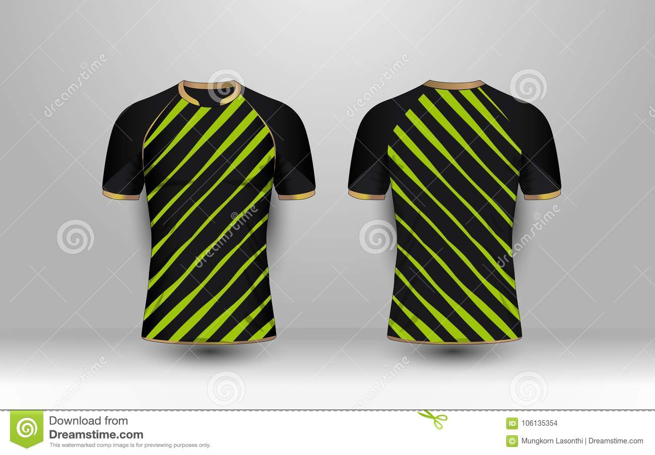 57da9236 Black and Green stripe with gold pattern sport football kits, jersey, t-shirt  design template. Illustration vector