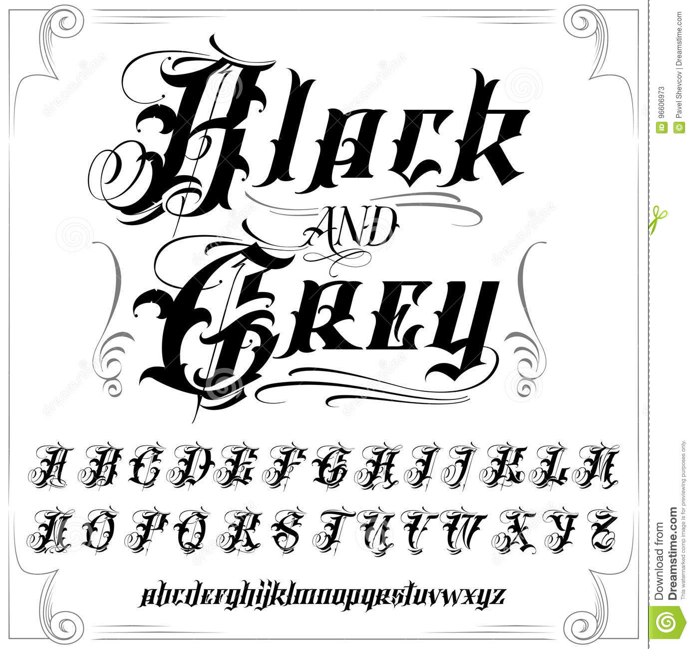 tattoo letter fonts black and grey font set stock vector illustration 25024