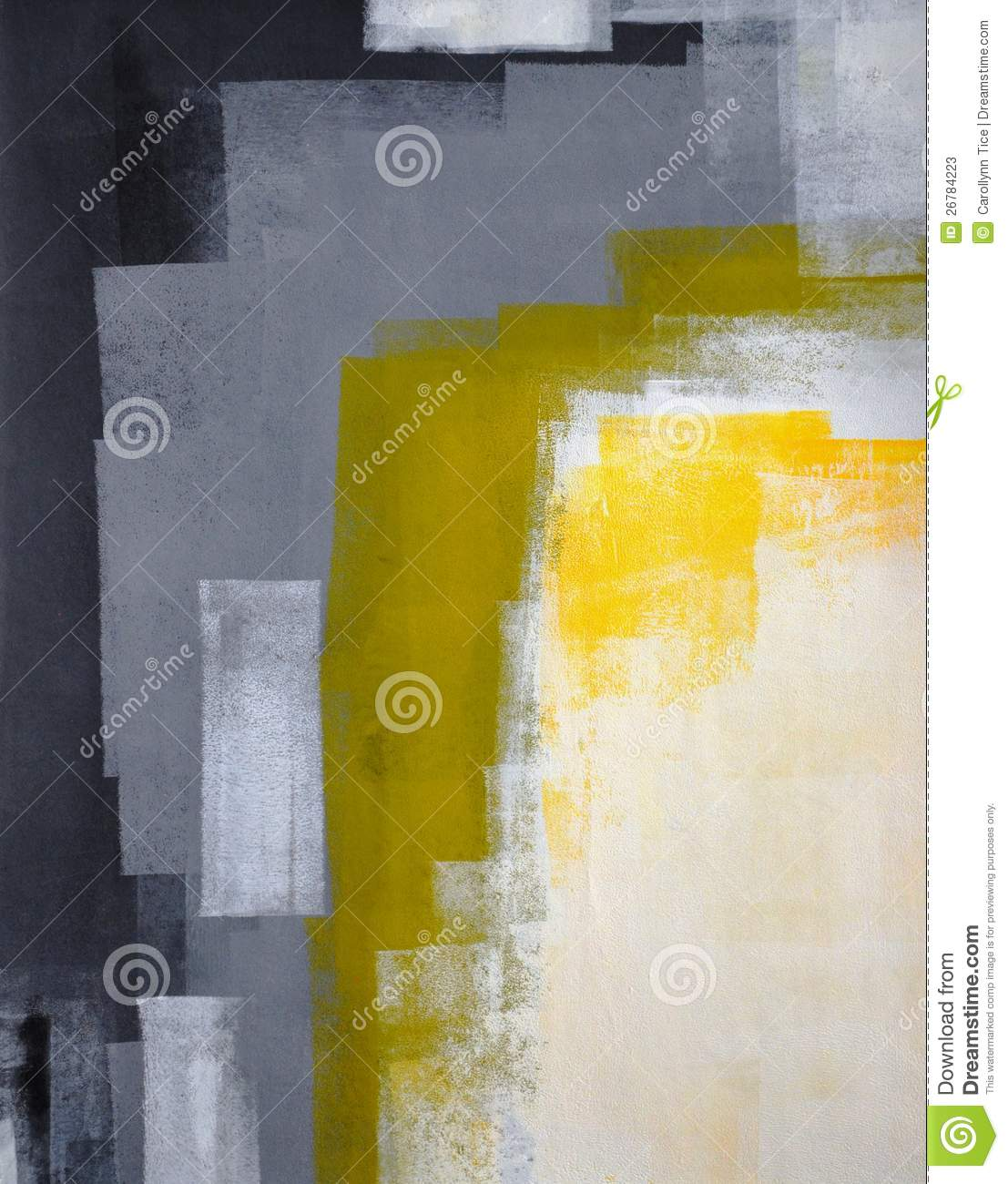 Black Grey And Yellow Abstract Art Painting Stock Image