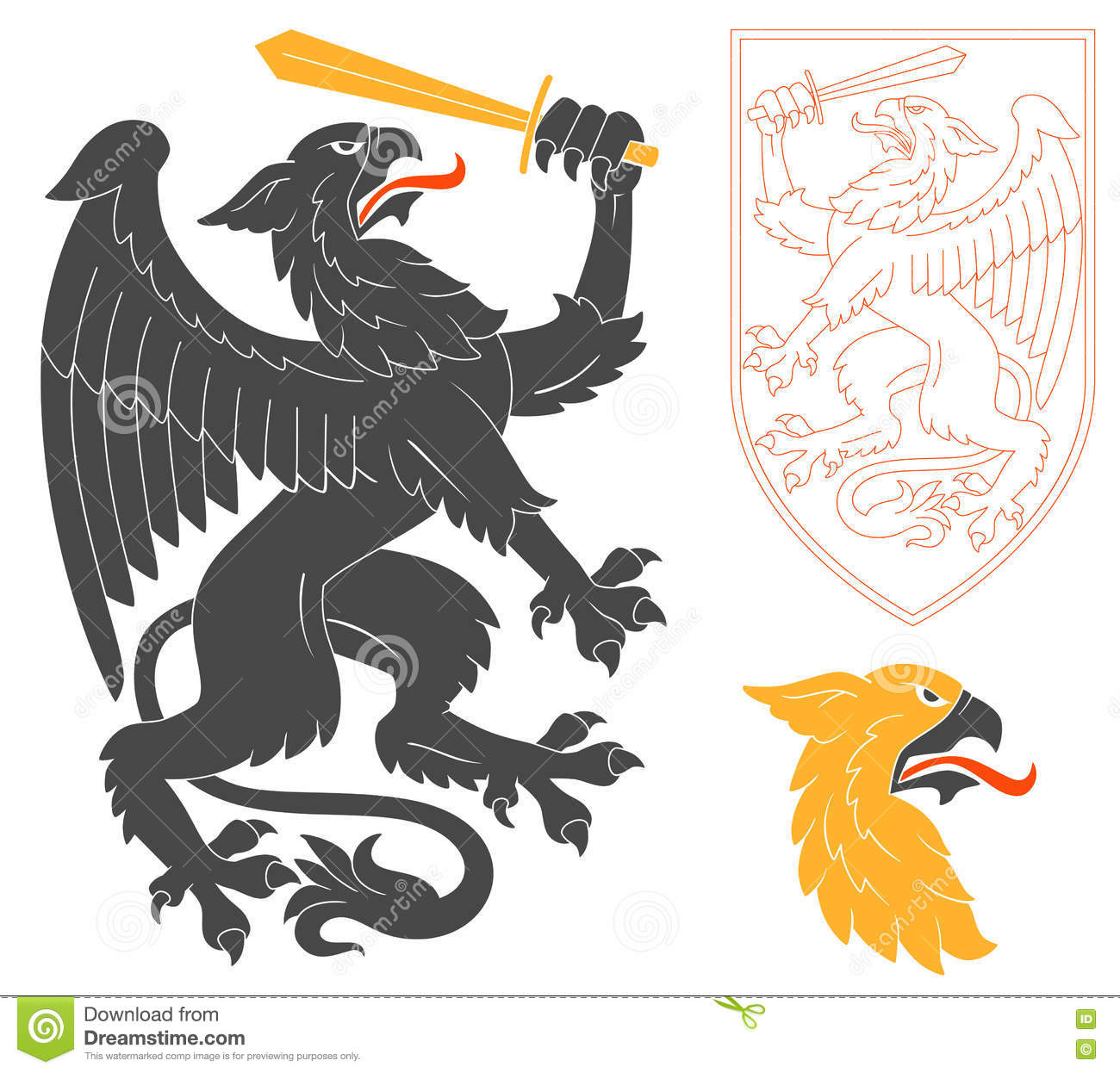 black griffin illustration stock vector image of legend 75092107. Black Bedroom Furniture Sets. Home Design Ideas