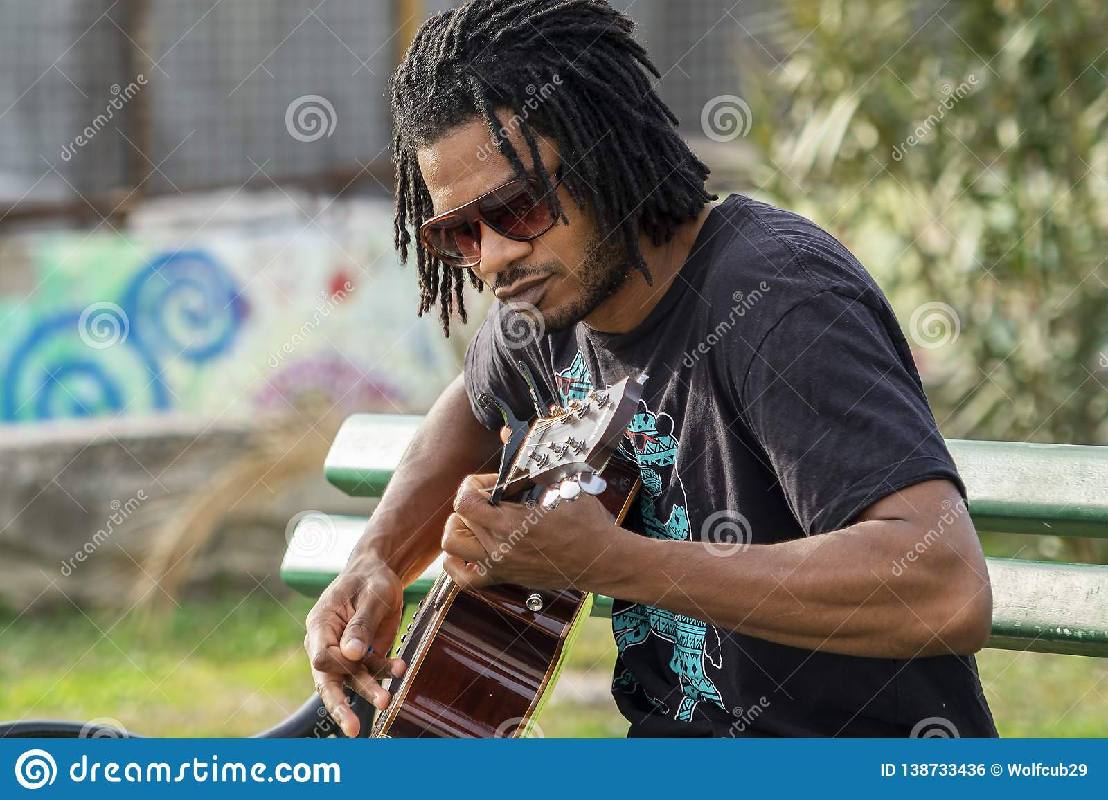 Black Guy With Dreadlocks Is Playing Guitar And Singing Editorial Photo Image Of Player Instrument 138733436