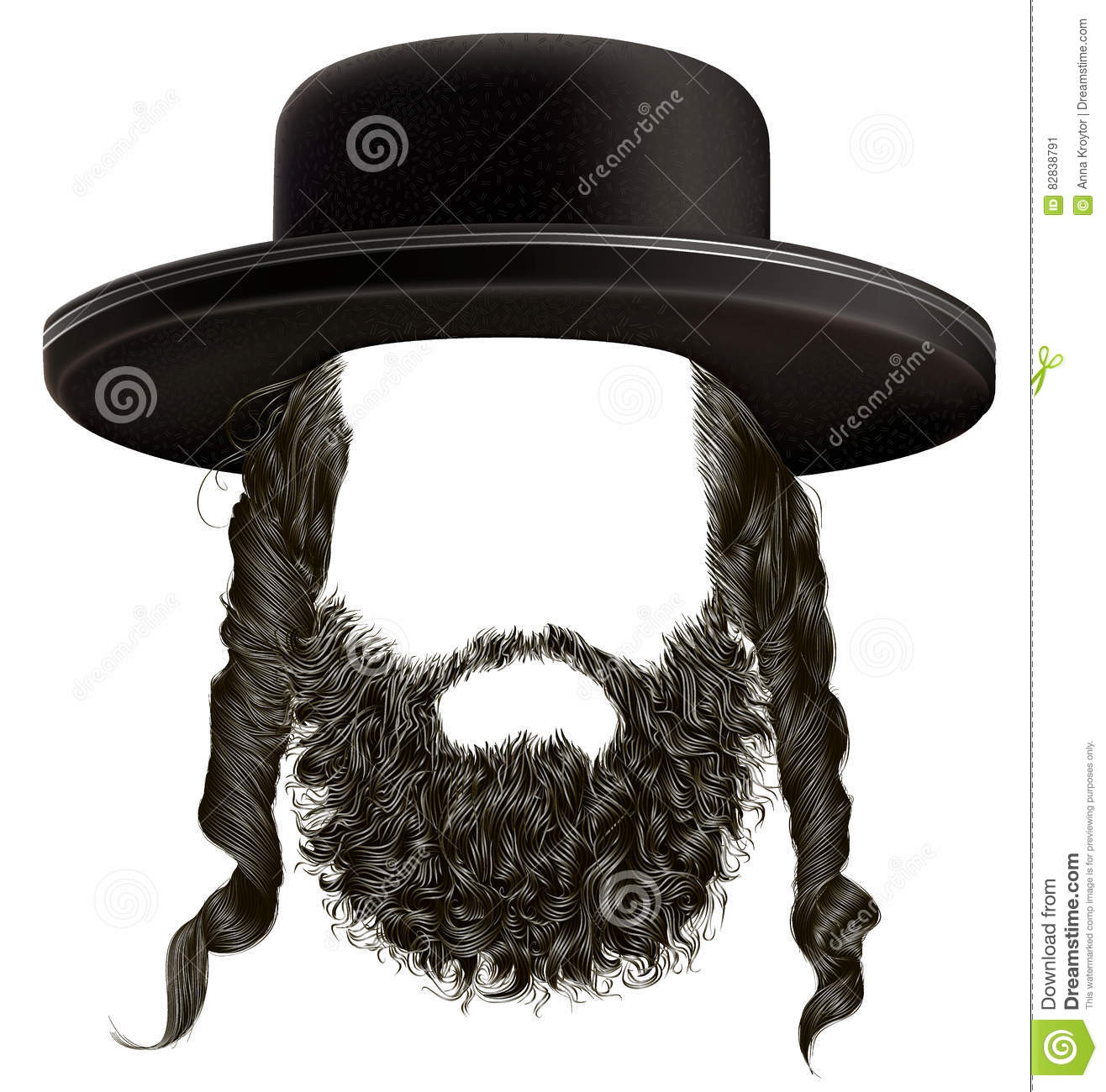 Hasidic Hats: Black Hair Sidelocks With Beard Mask Wig Hassid In Hat
