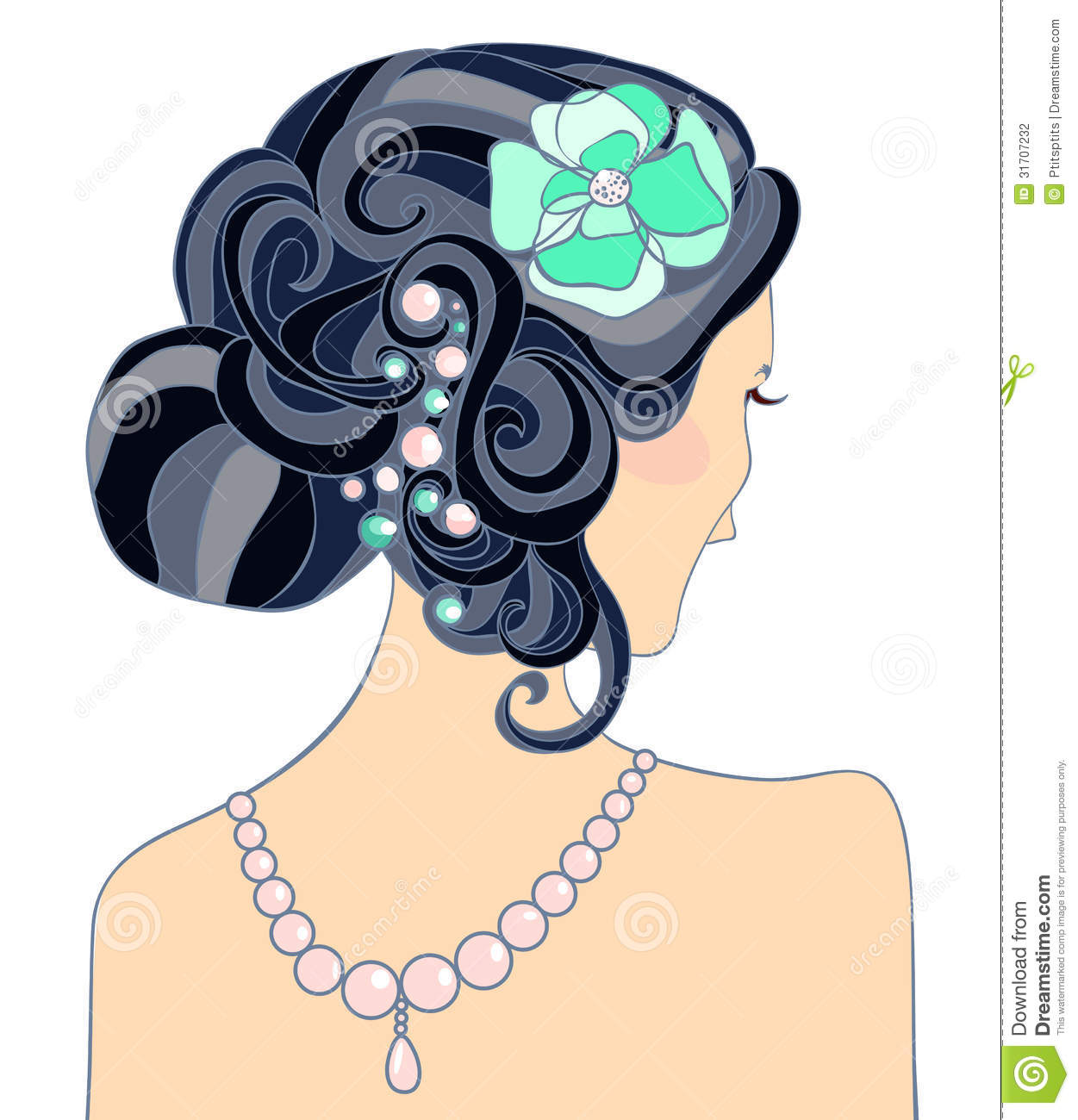 The Black-haired Girl With A Wedding Hairstyle Stock ...