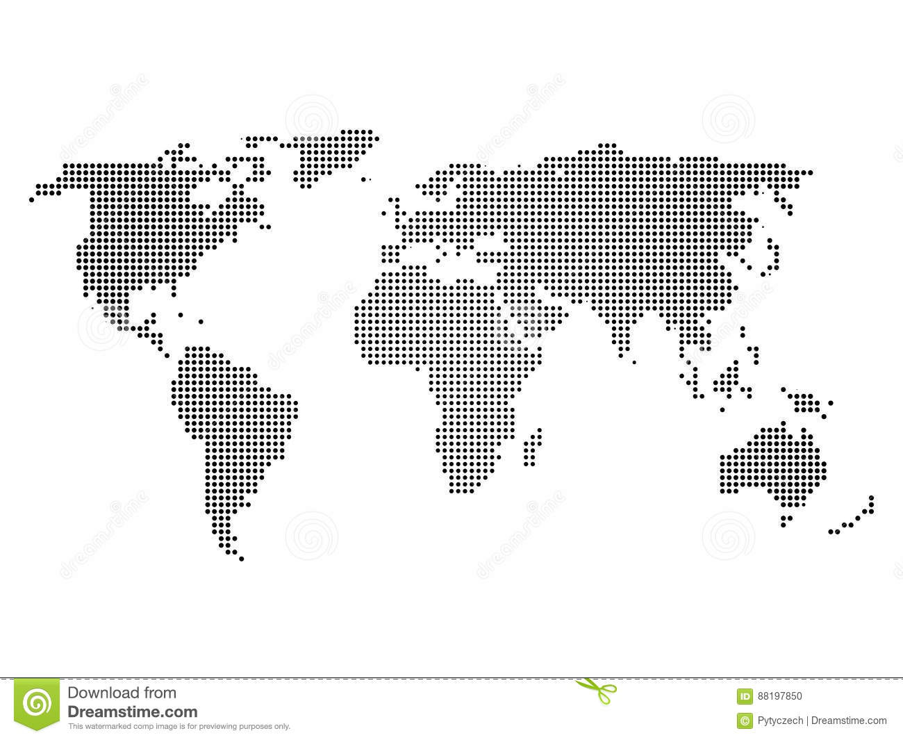 Download Black Halftone World Map Of Small Dots In Linear Arrangement Simple Flat Vector Illustration