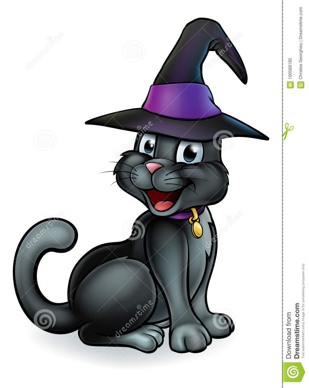 Download Black Witches Cat Cartoon Character In Hat Stock Vector