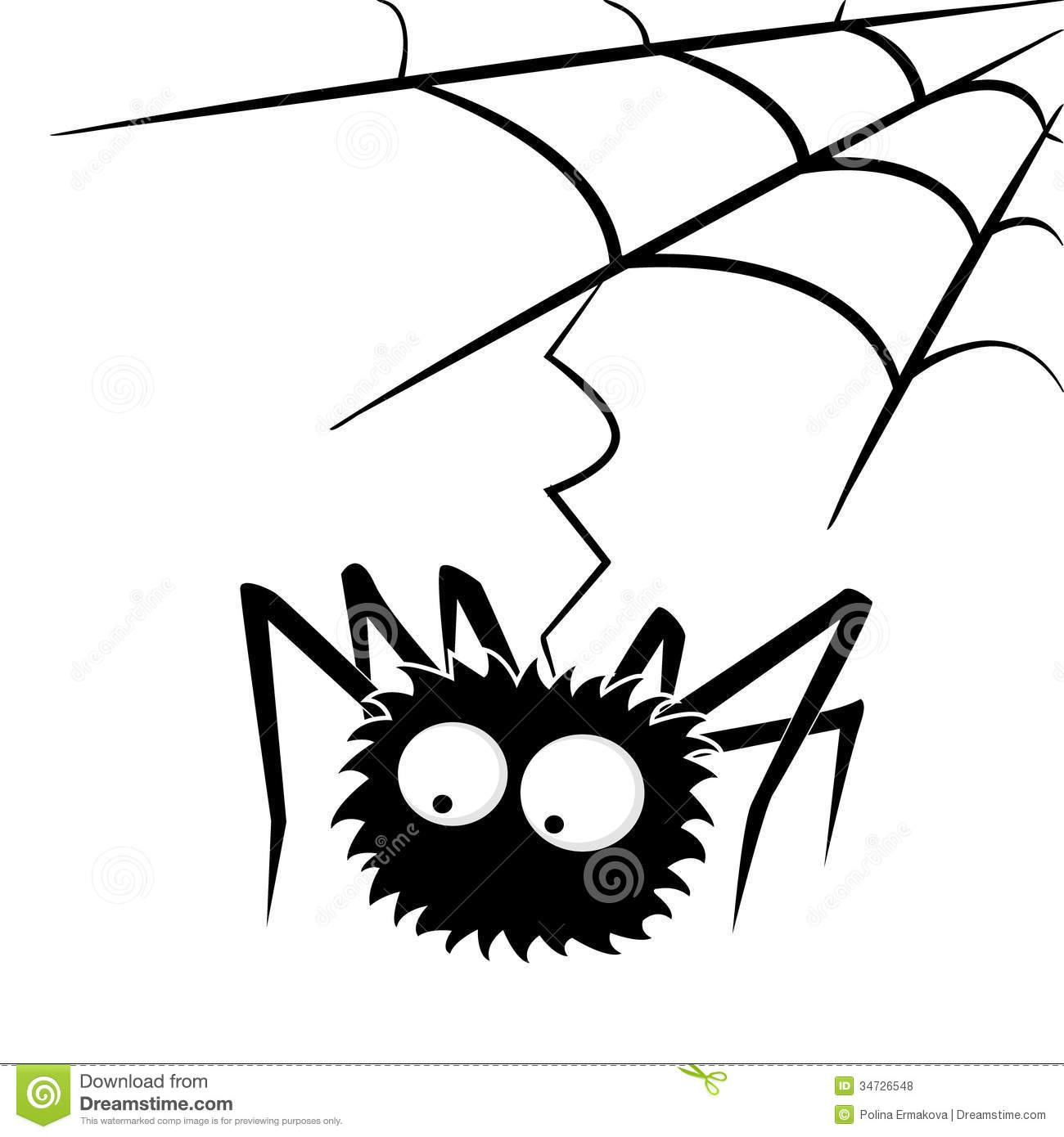 Black Halloween Spider With Web Stock Vector ...