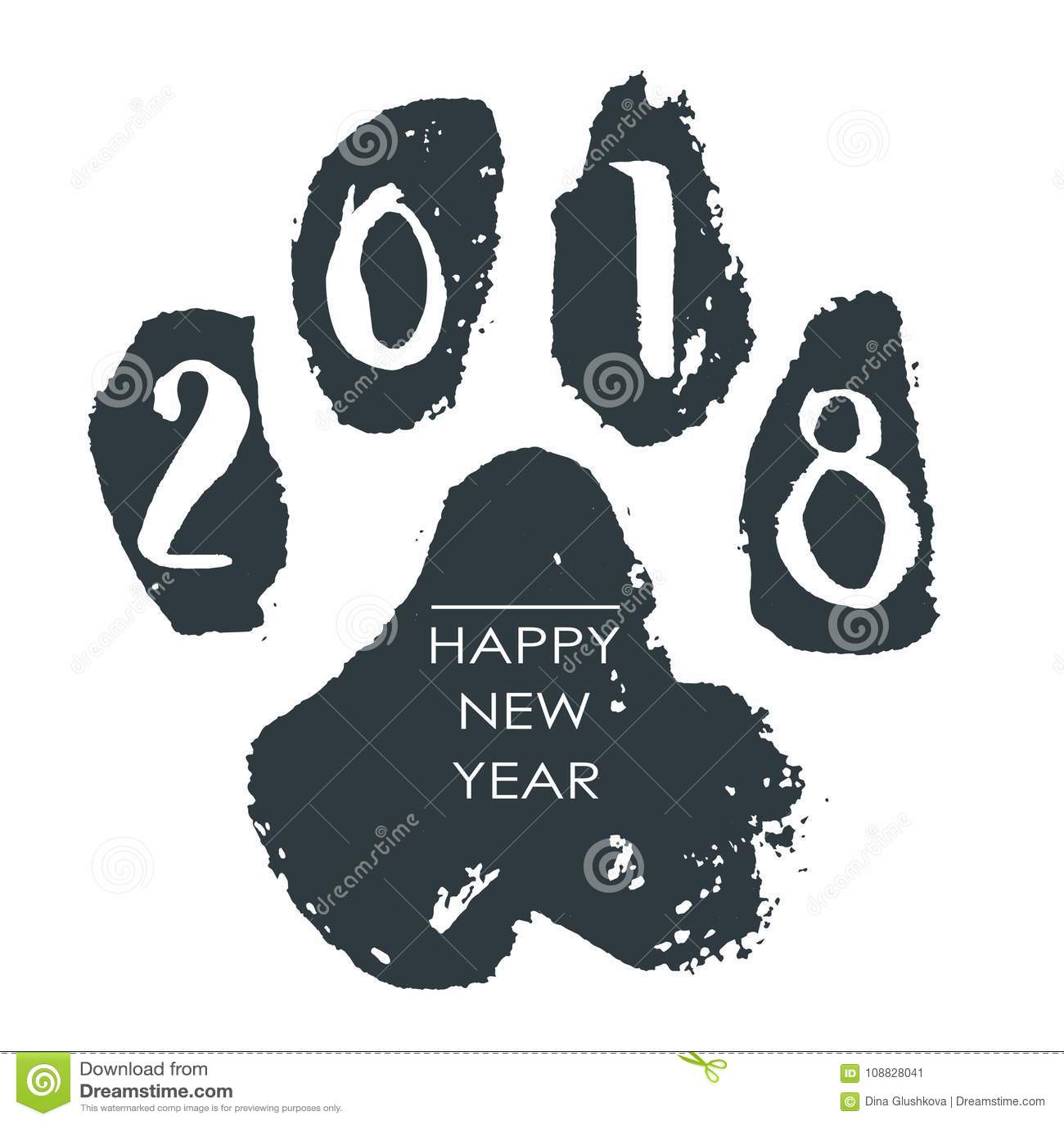Black Hand Drawn Isolated Dog Footprint Grunge Ink Illustration