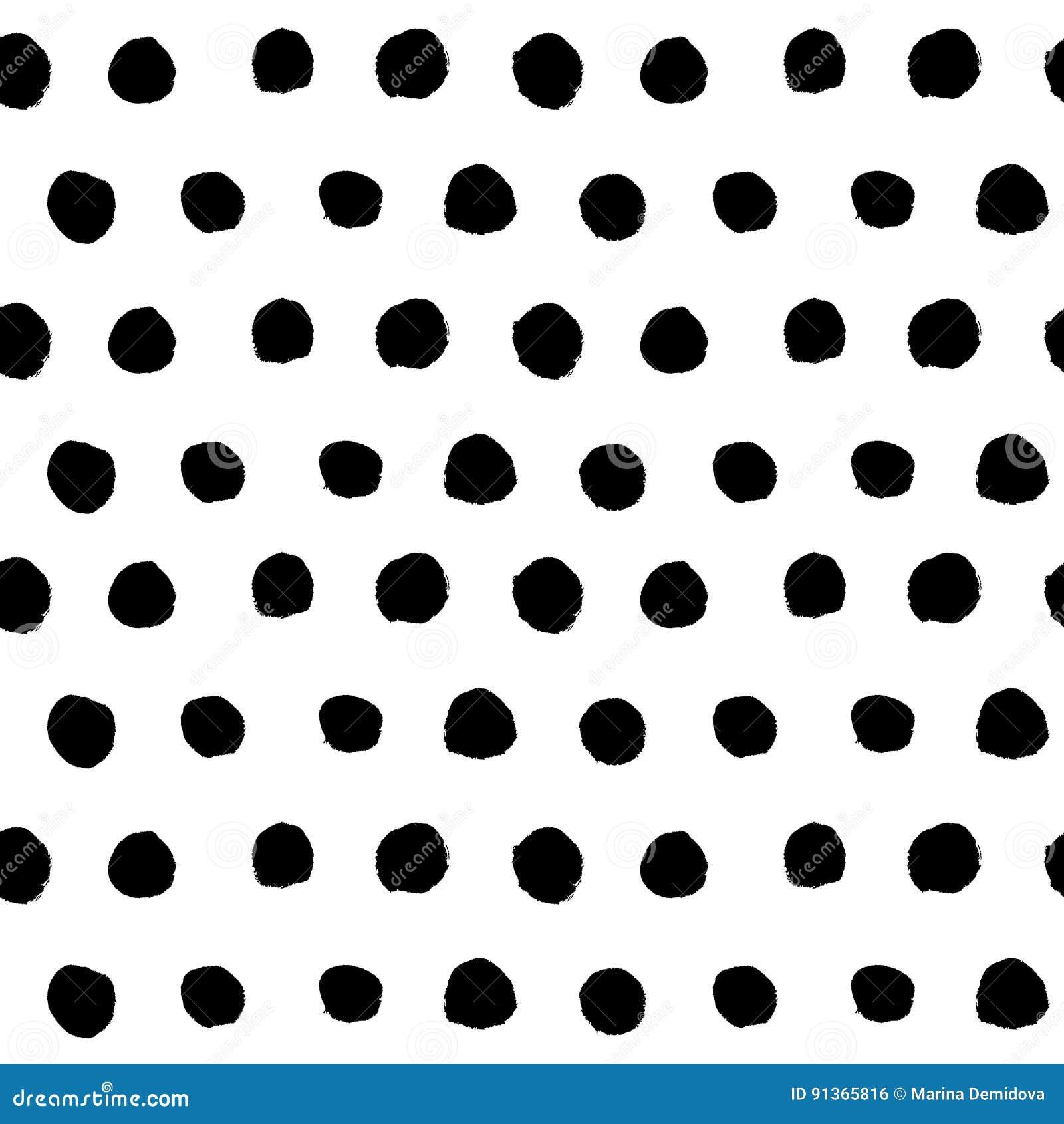 Black hand drawn polka dot seamless pattern vector