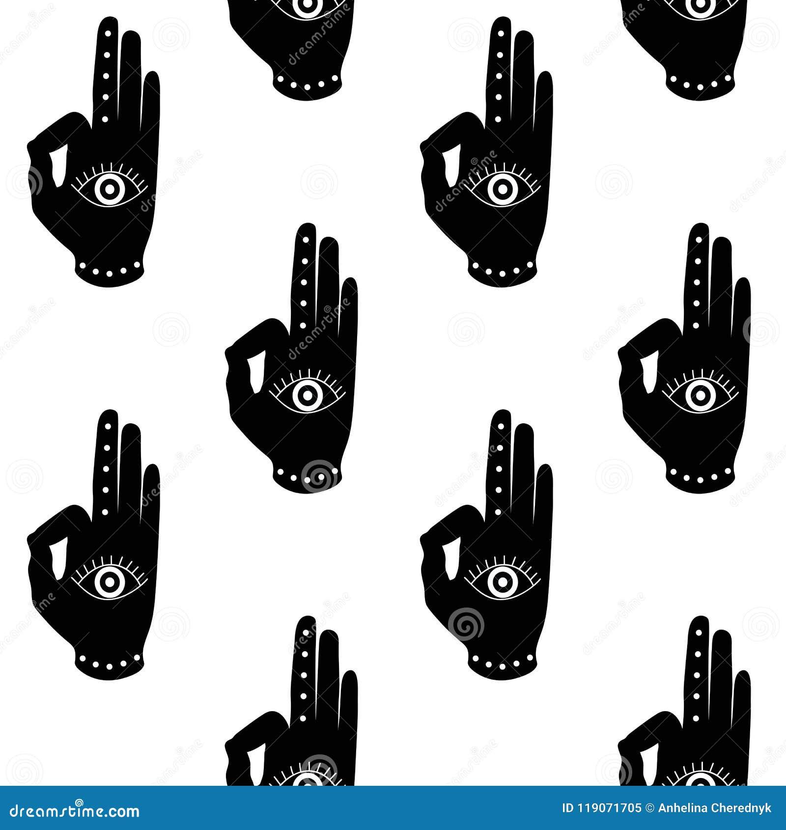 Black Hand With Eye Mudra Buddhism Hinduism Symbol Pattern Seaml