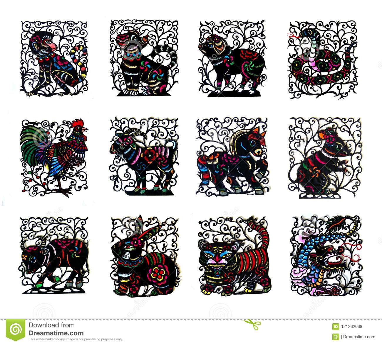 Black handmade cut paper chinese zodiac animals