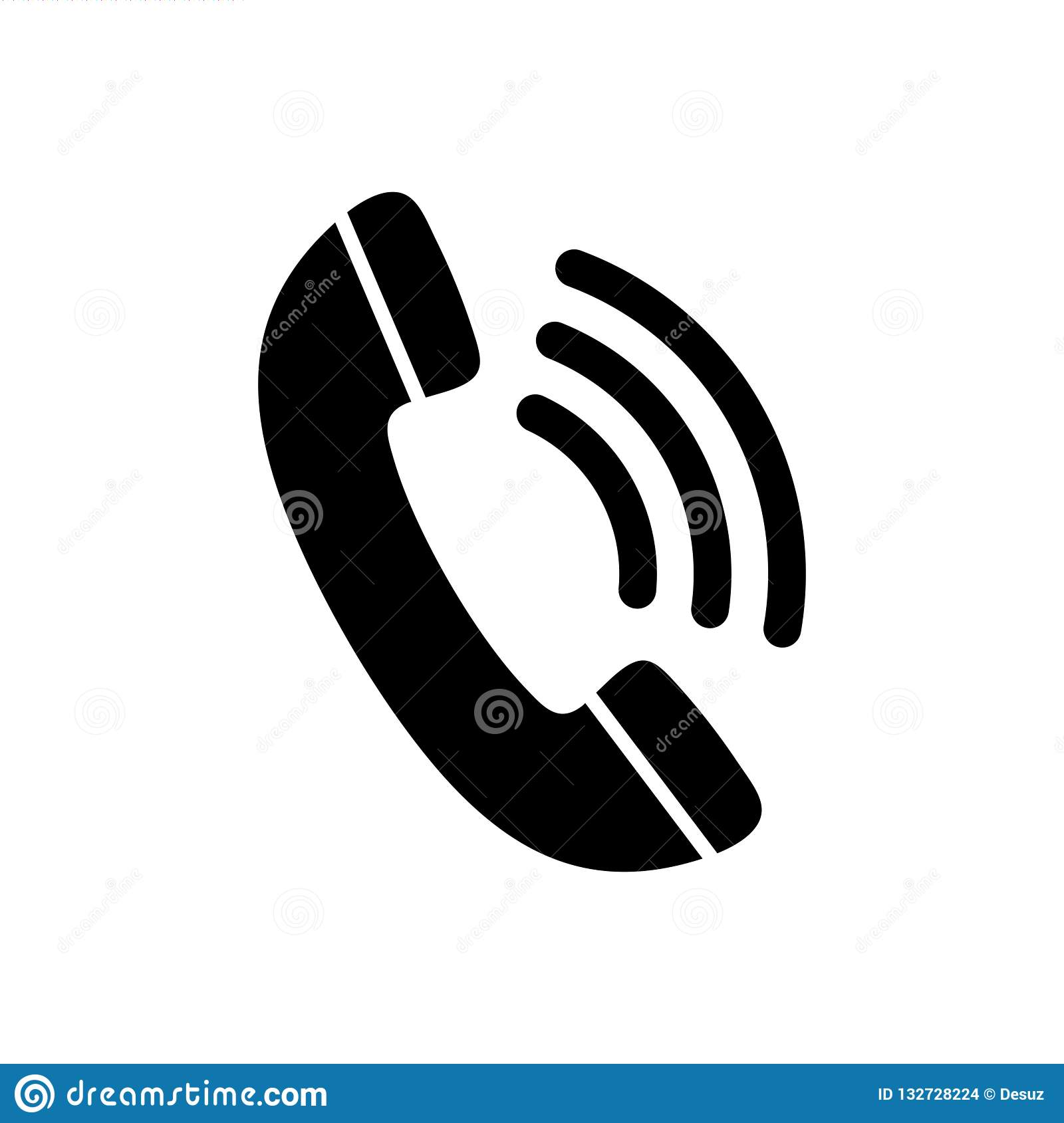 Phone Icon In Black And White Isolated Telephone Symbol Stock Vector Illustration Of Clipart Buttons 132728224