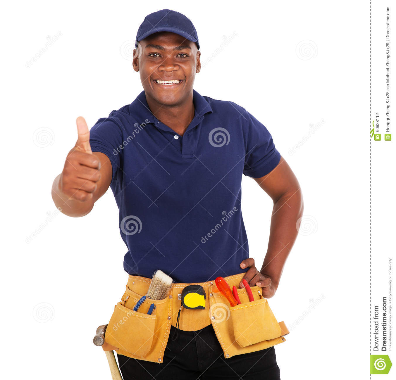 Black Handyman Thumb Up Stock Photo. Image Of Black