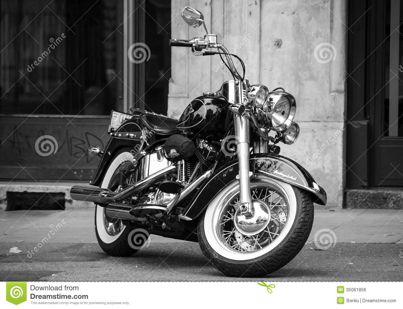 Black harley harley davidson softail motorcycle in black and white royalty free stock image