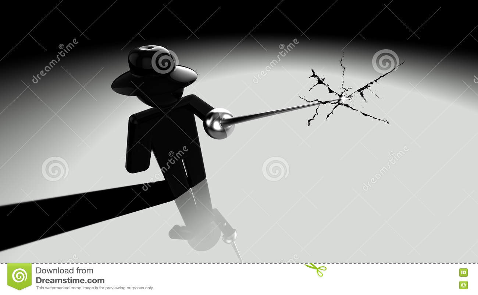 Black Hat Hacker Piercing Screen Stock Illustration