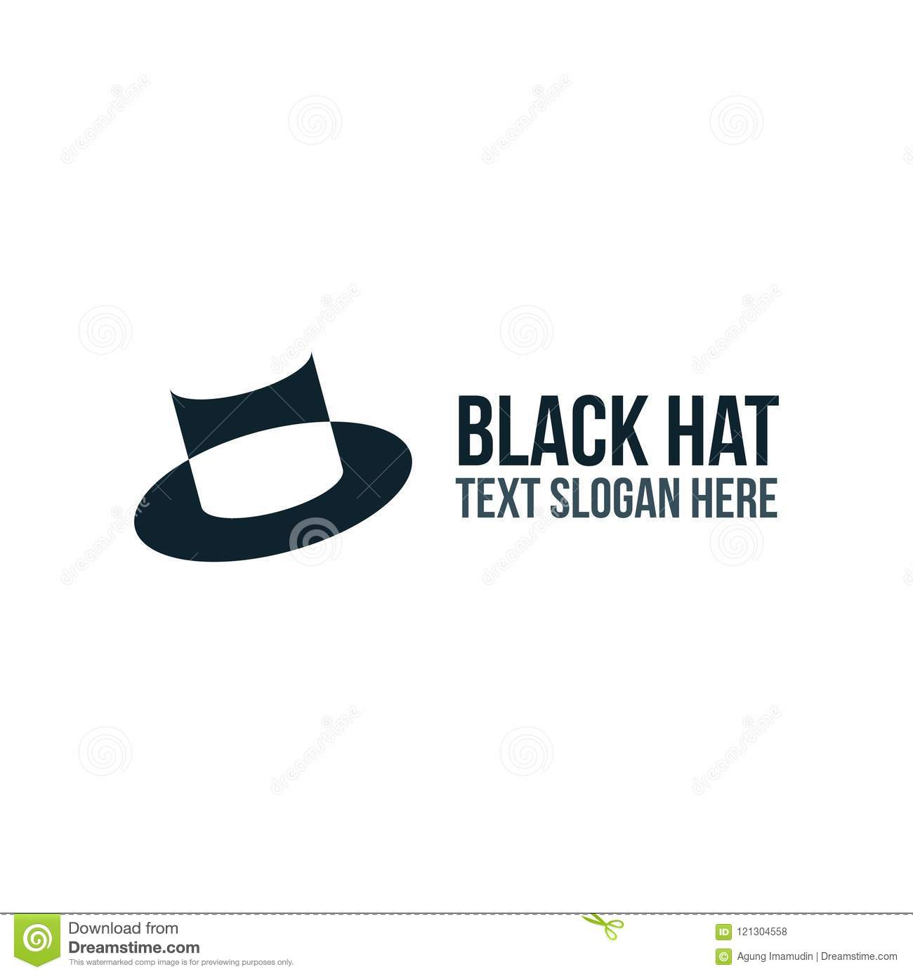 black hat logo company and business stock illustration