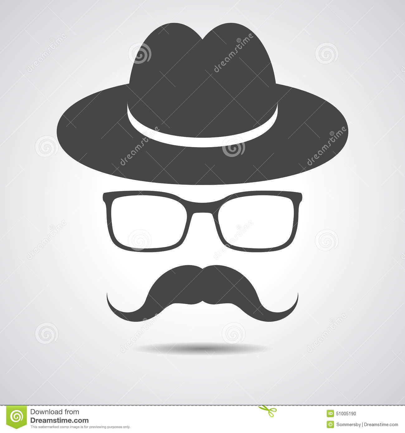Black Hat With Mustache And Glasses Isolated On A Grey ...