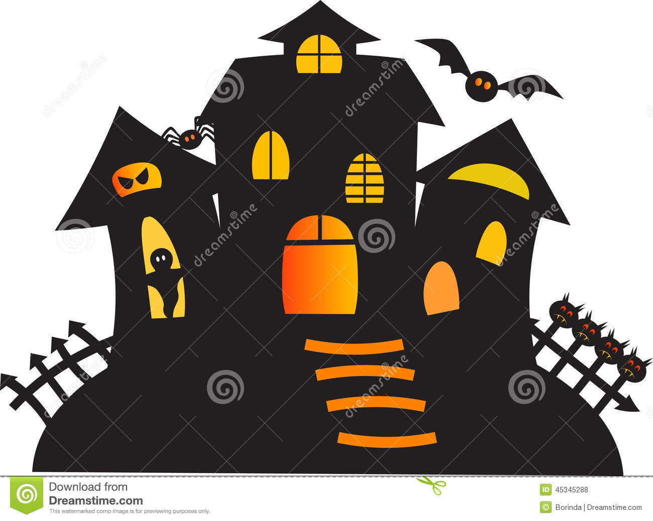 Halloween Spooky House Drawing.Black Haunted Ghost House Illustration Stock Illustration