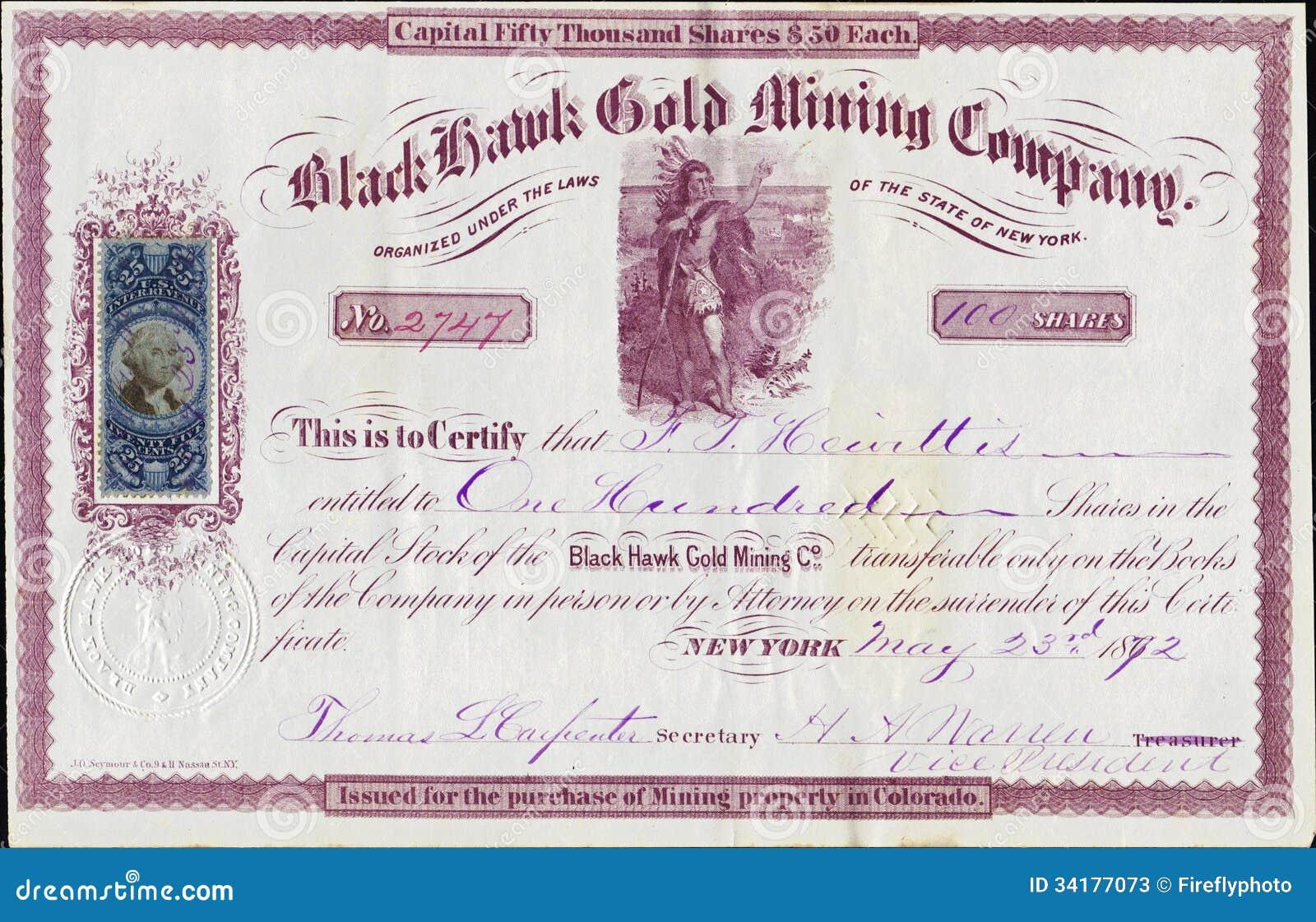 1872 Black Hawk Gold Mining Company Stock Certificate - Colorado Territory