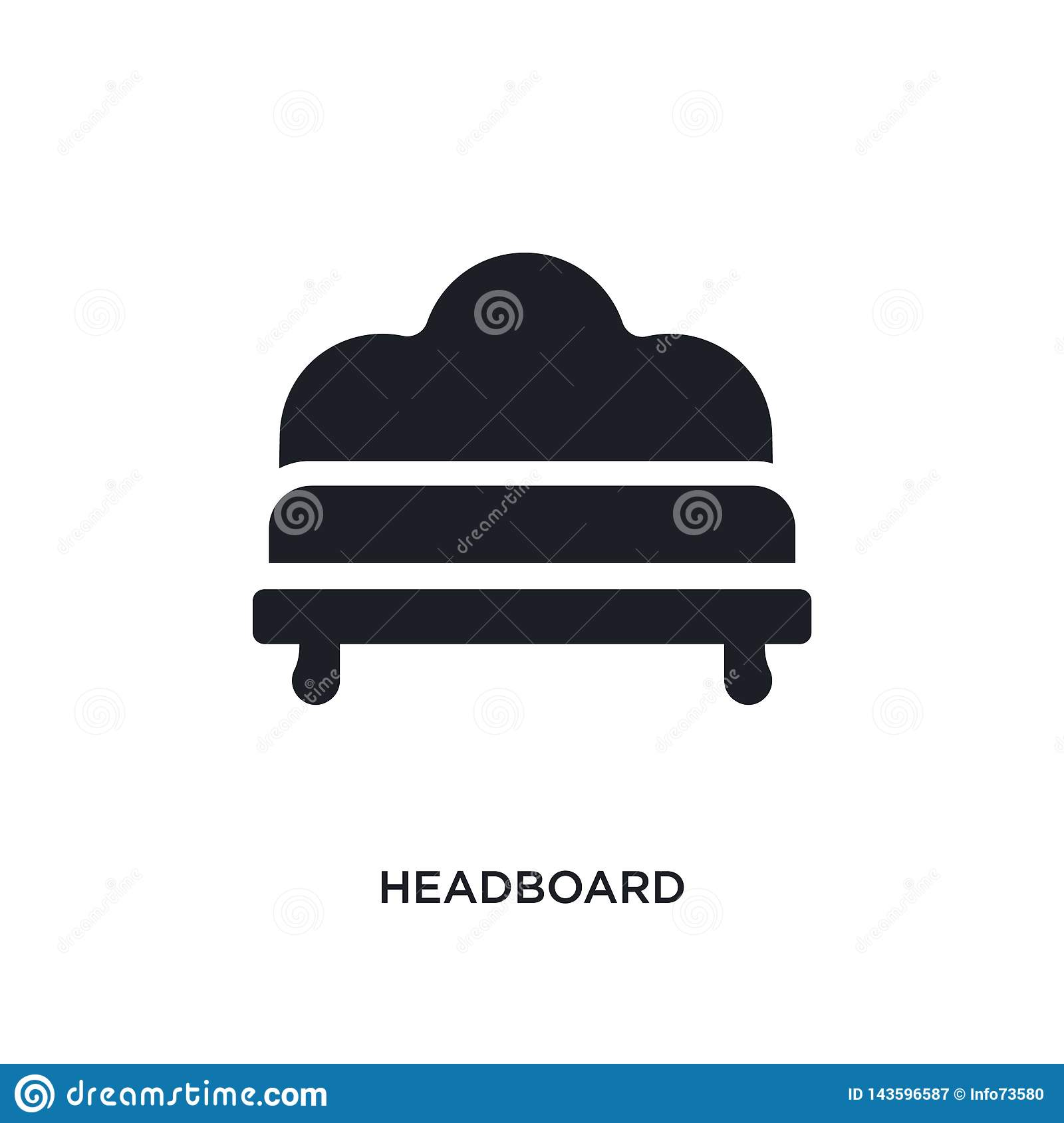 black headboard isolated vector icon. simple element illustration from furniture and household concept vector icons. headboard