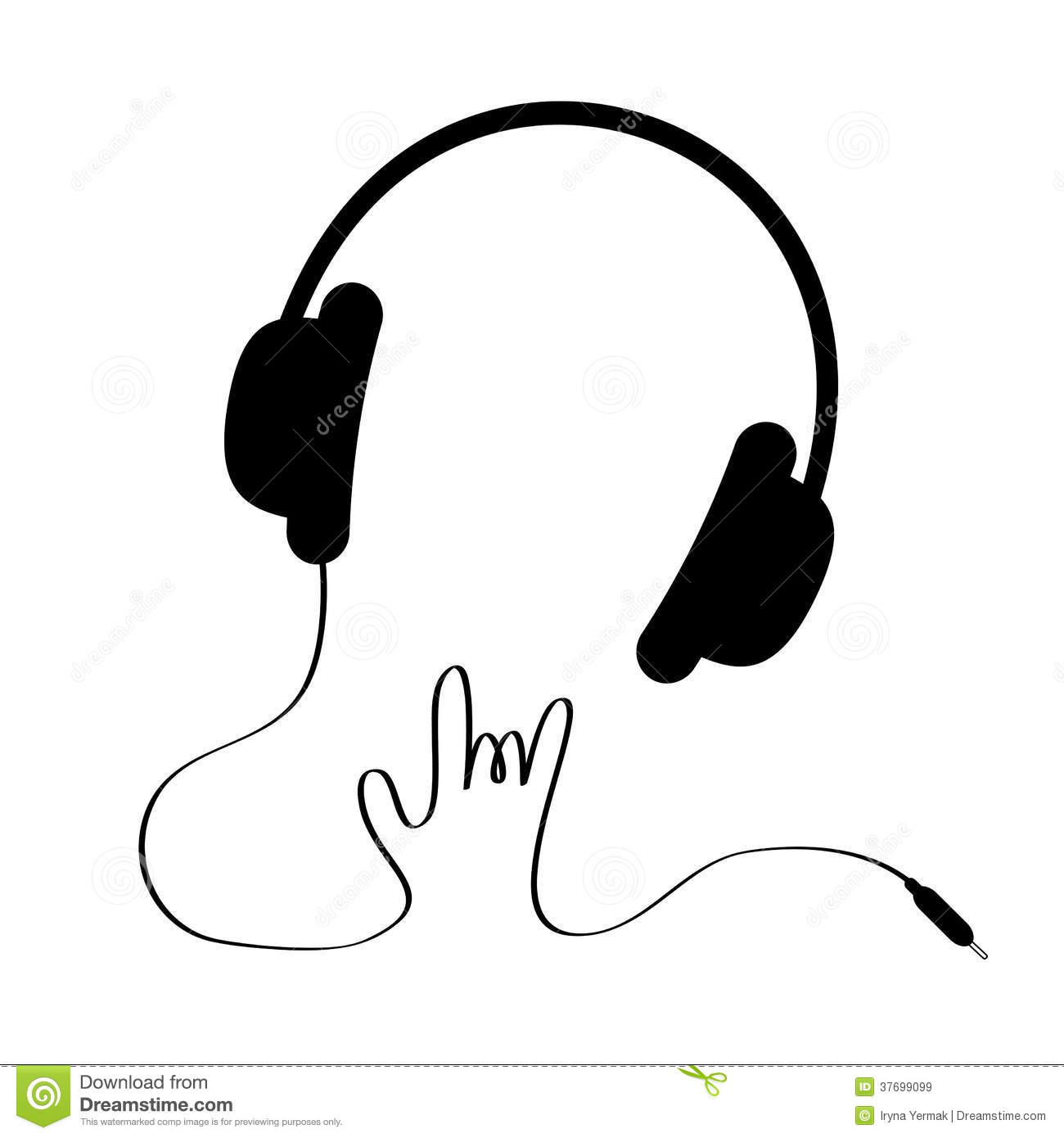 Black Headphones With Cord In Shape Of Hand. Rock Royalty Free ...